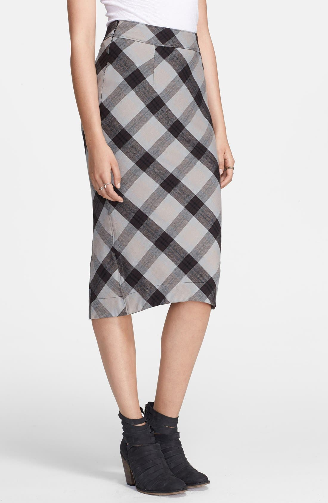 Alternate Image 1 Selected - Free People 'Geometric Precision' Plaid Pencil Skirt