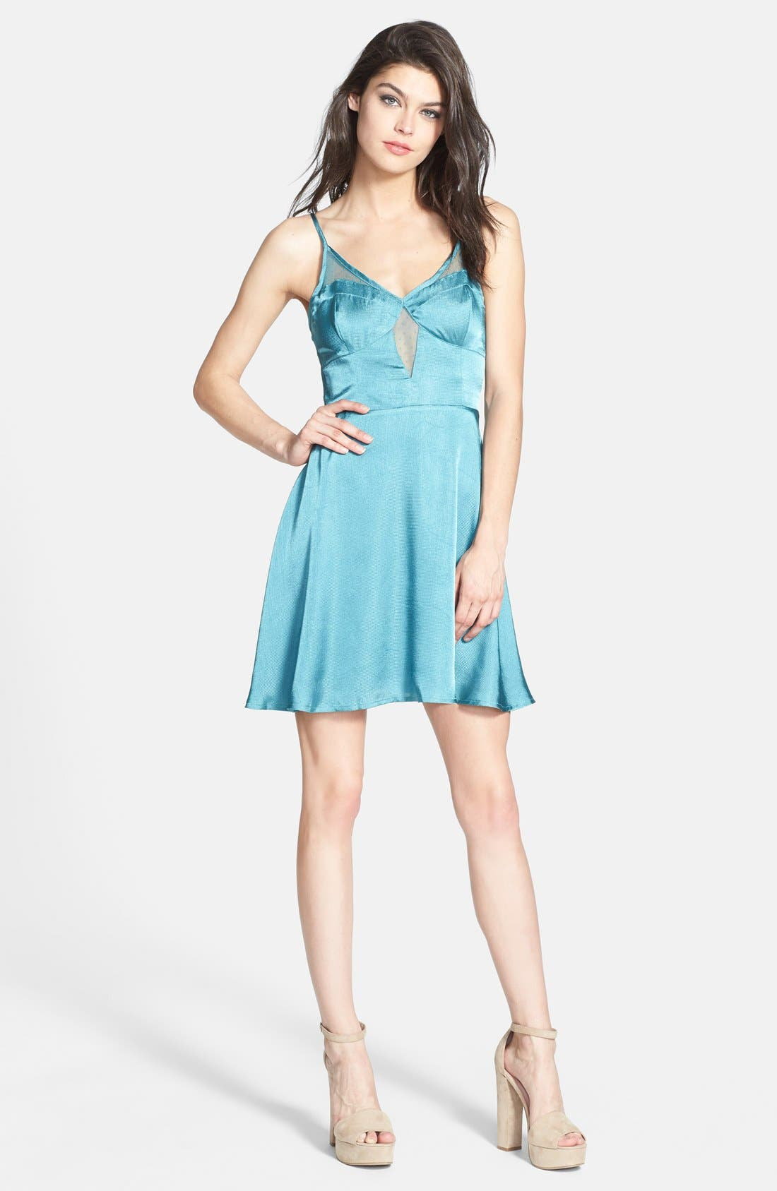 Main Image - ASTR Mesh Inset Jacquard Slip Dress