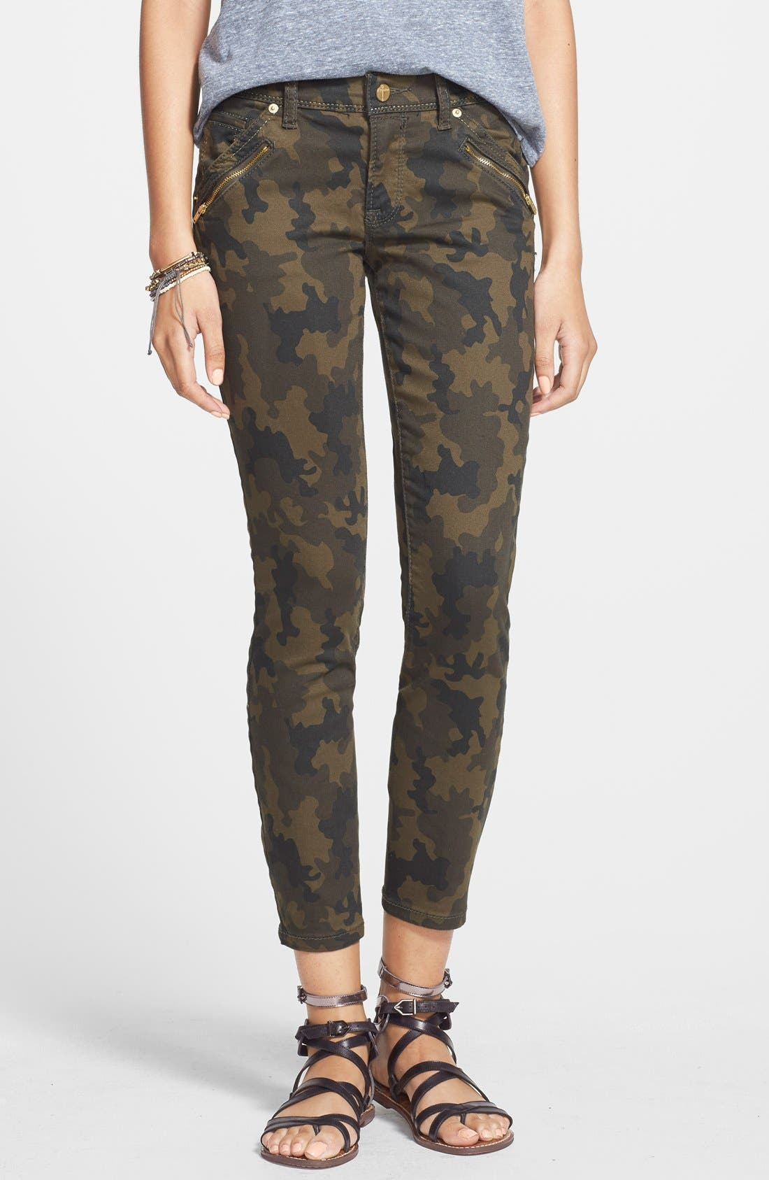 Alternate Image 1 Selected - Standards & Practices Zip Detail Ankle Skinny Jeans (Camo Print)