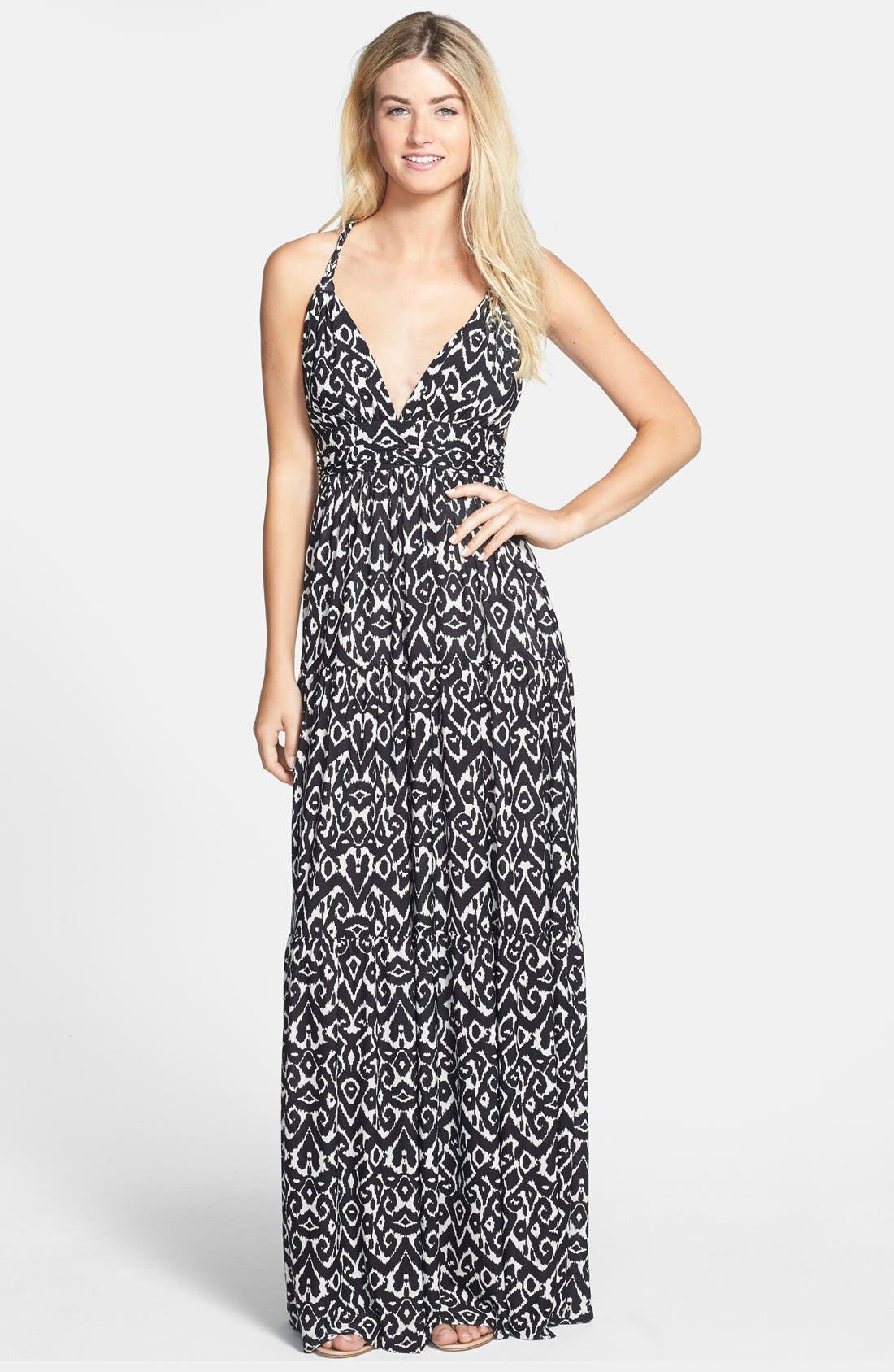 Main Image - Tbags Los Angeles Braid Back Jersey Maxi Dress