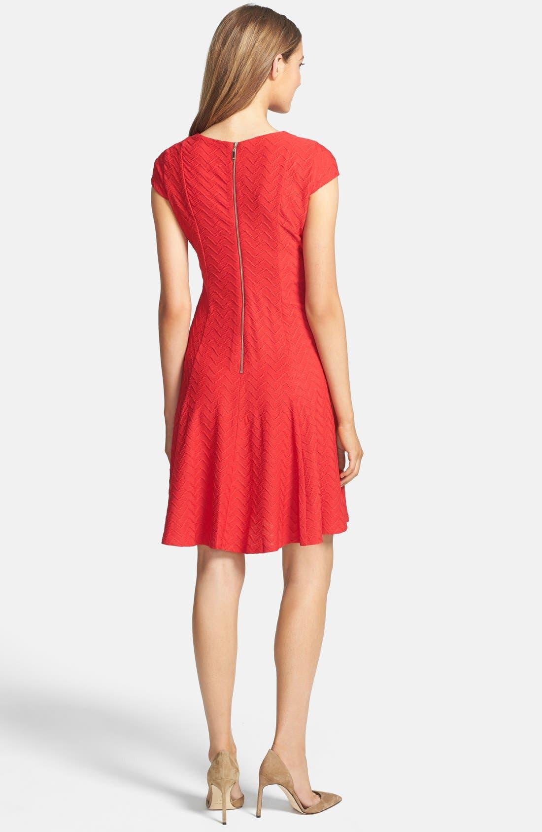 Alternate Image 2  - Eliza J Textured Knit Fit & Flare Dress (Petite)