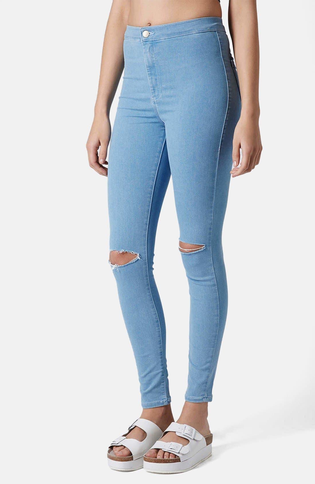 Main Image - Topshop Moto 'Joni' Ripped High Rise Skinny Jeans (Light Denim) (Short)