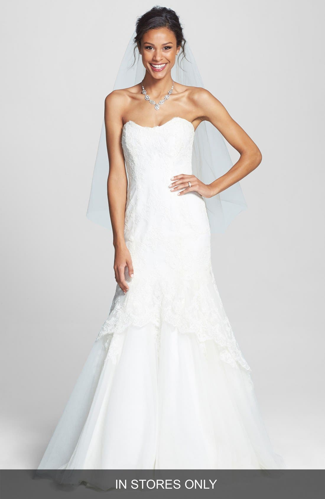 Alternate Image 1 Selected - BLISS Monique Lhuillier Lace Overlay Tulle Trumpet Wedding Dress (In Stores Only)