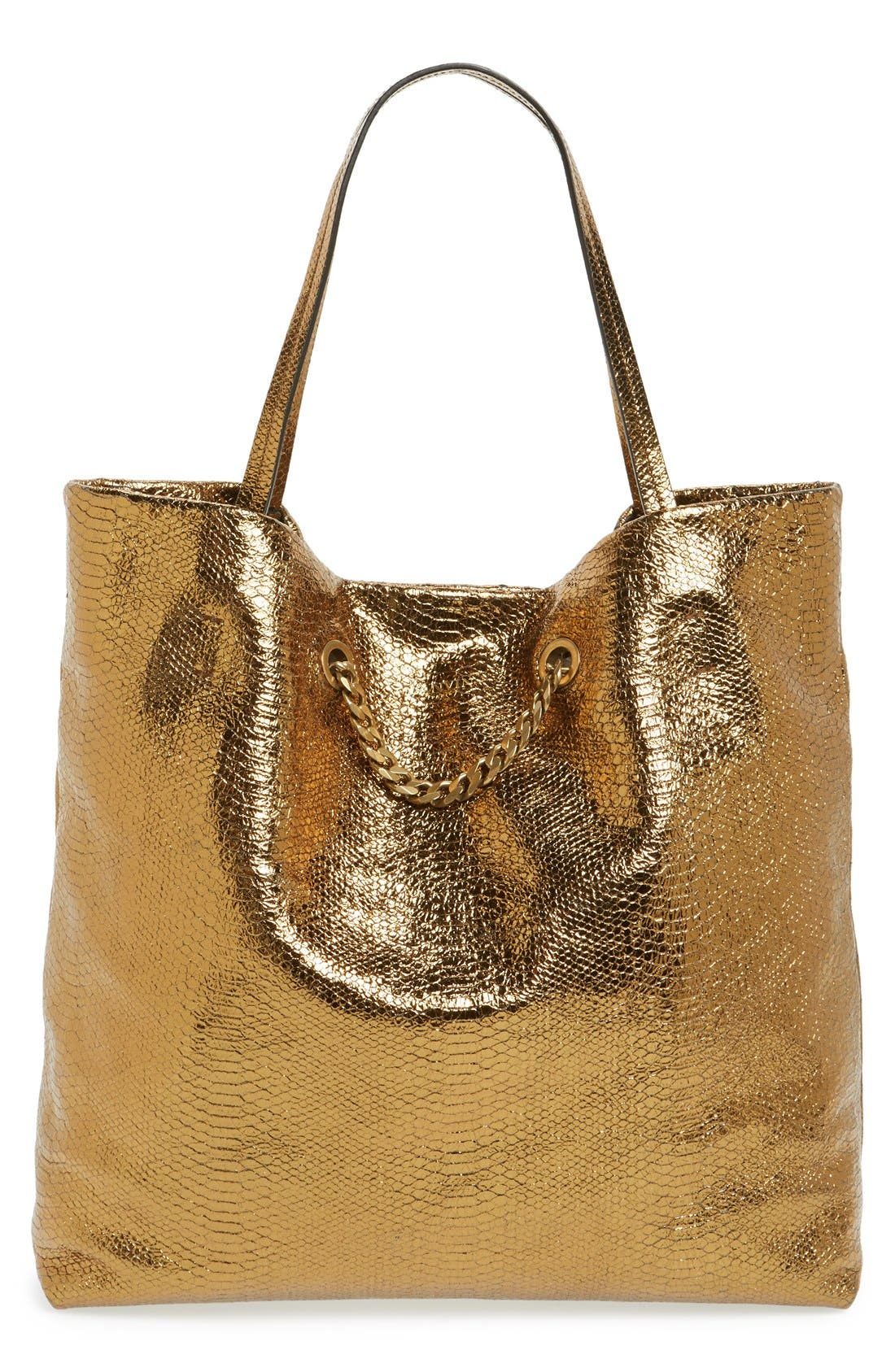 Main Image - Lanvin 'Medium Carry Me' Snake Embossed Metallic Leather Tote