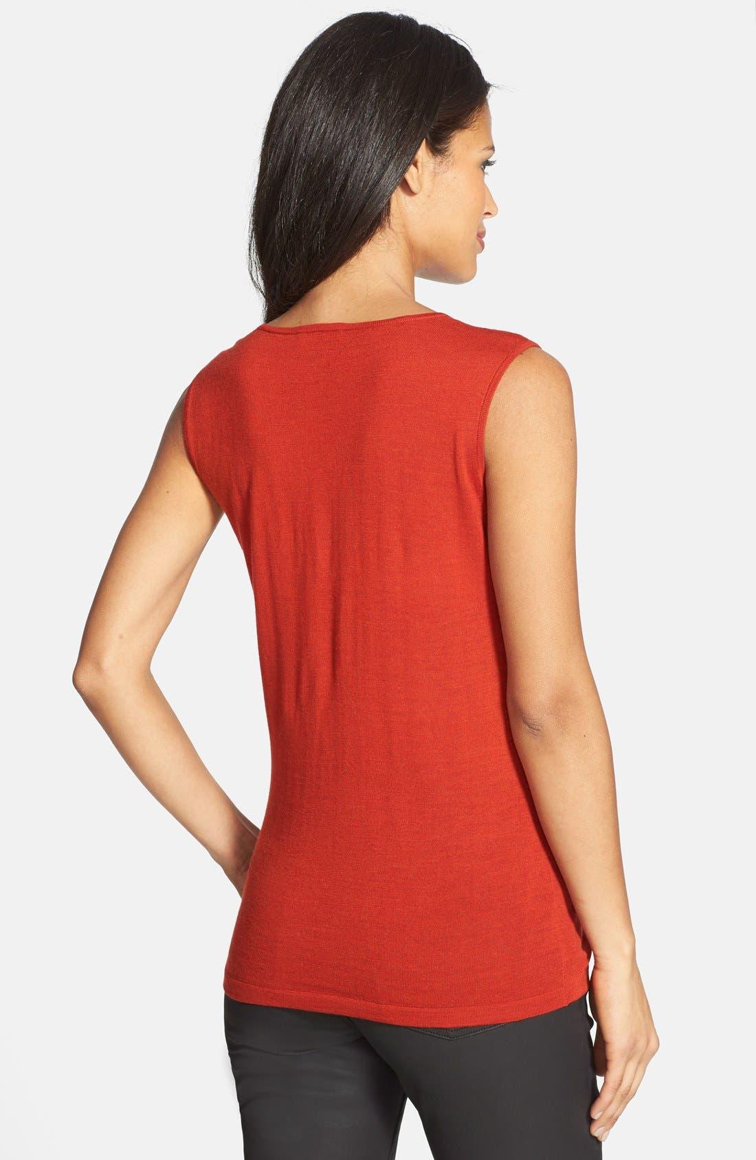 Alternate Image 2  - Eileen Fisher Wool Jewel Neck Muscle Tee (Regular & Petite)