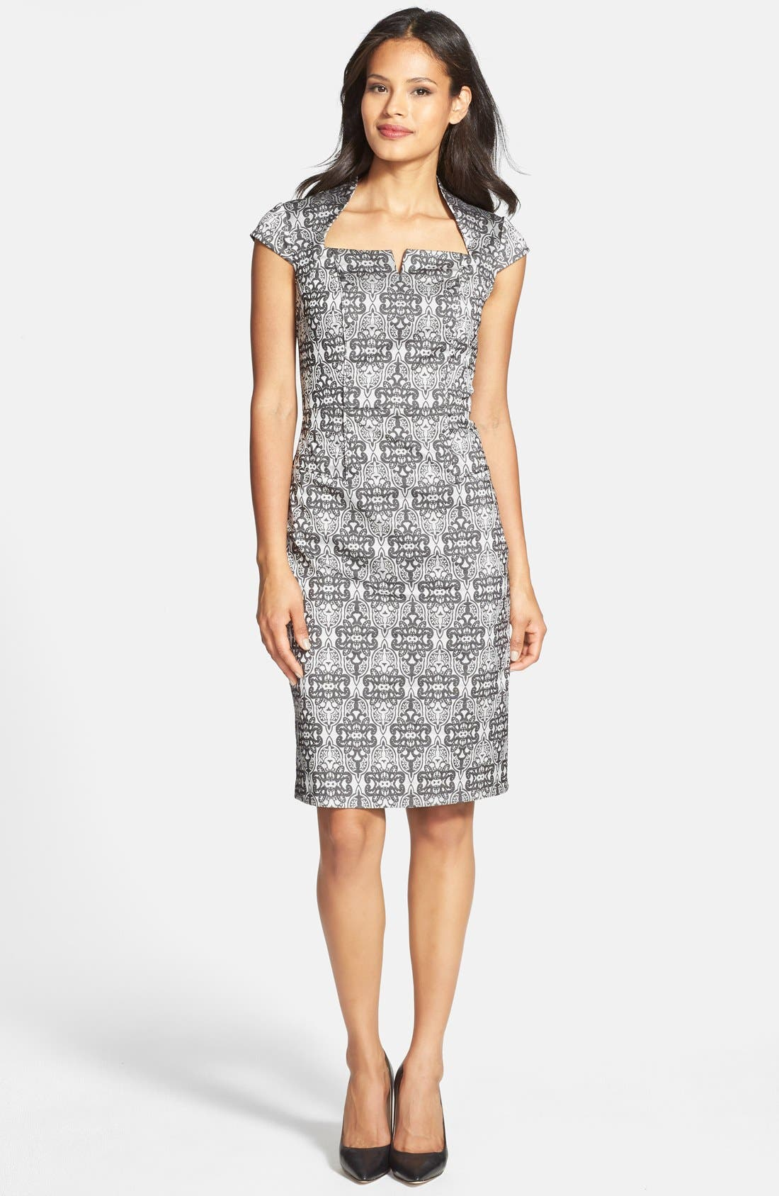Alternate Image 3  - Adrianna Papell Cap Sleeve Print Sheath Dress (Regular & Petite)