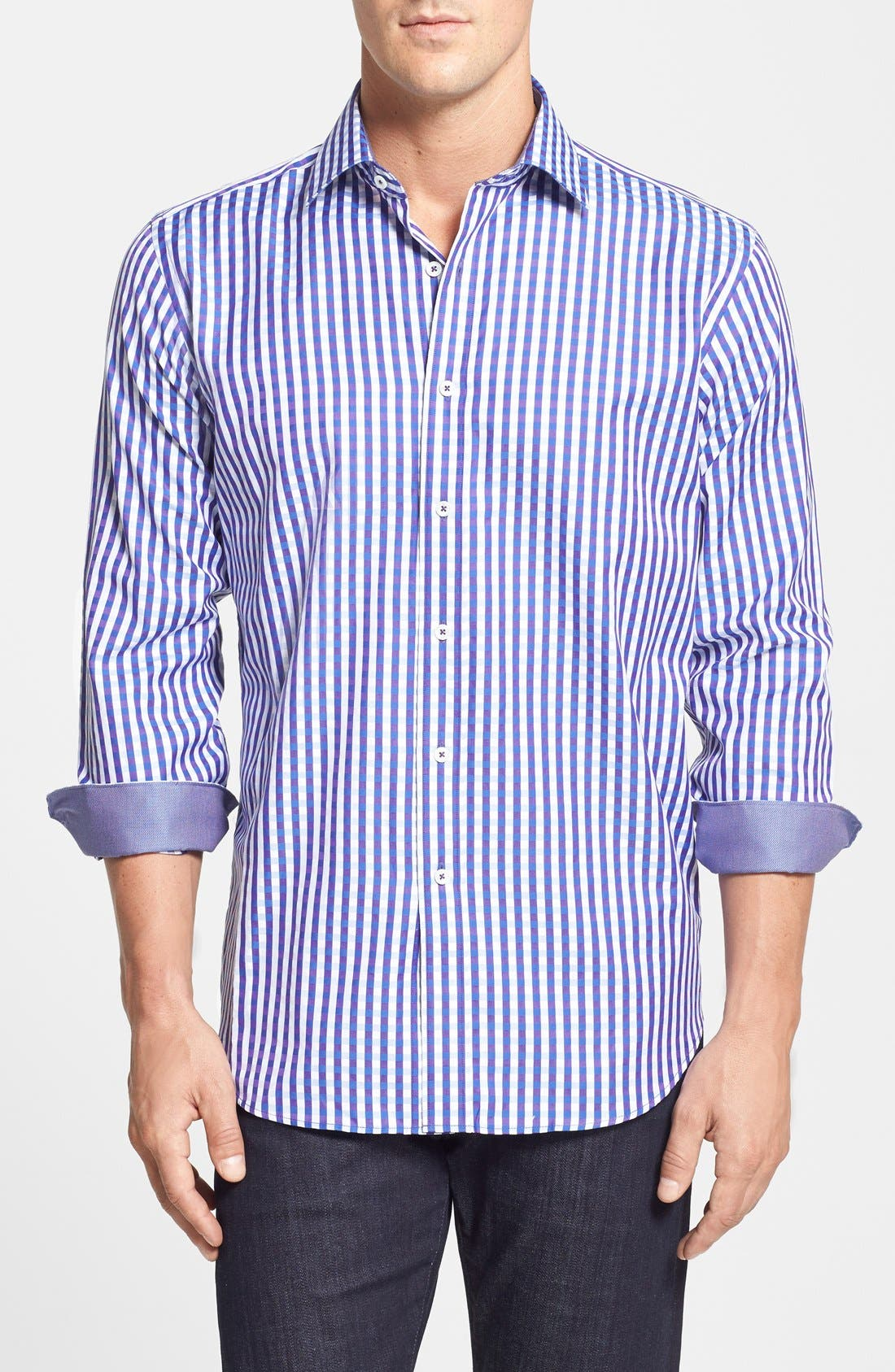 Alternate Image 1 Selected - Bugatchi Classic Fit Plaid Sport Shirt (Tall)