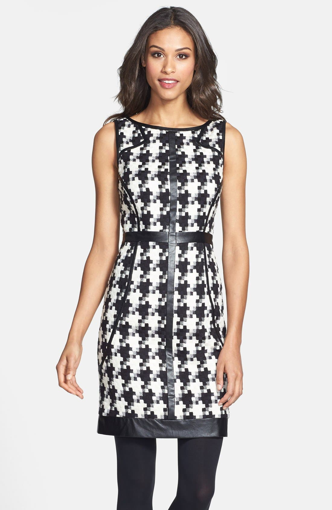 Main Image - Laundry by Shelli Segal Faux Leather Trim Houndstooth Sheath Dress