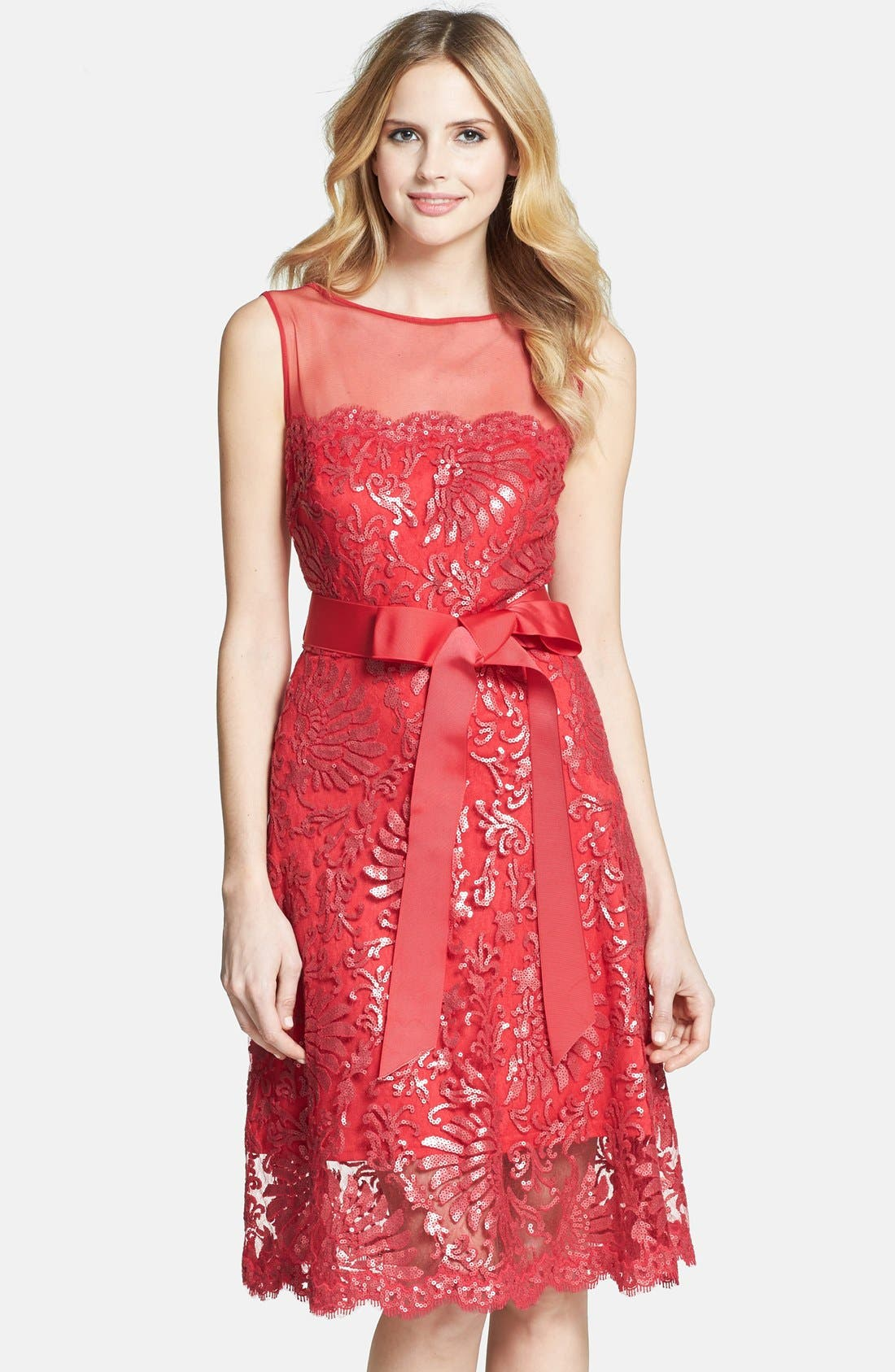 Alternate Image 1 Selected - Tadashi Shoji Illusion Yoke Embellished Lace A-Line Dress