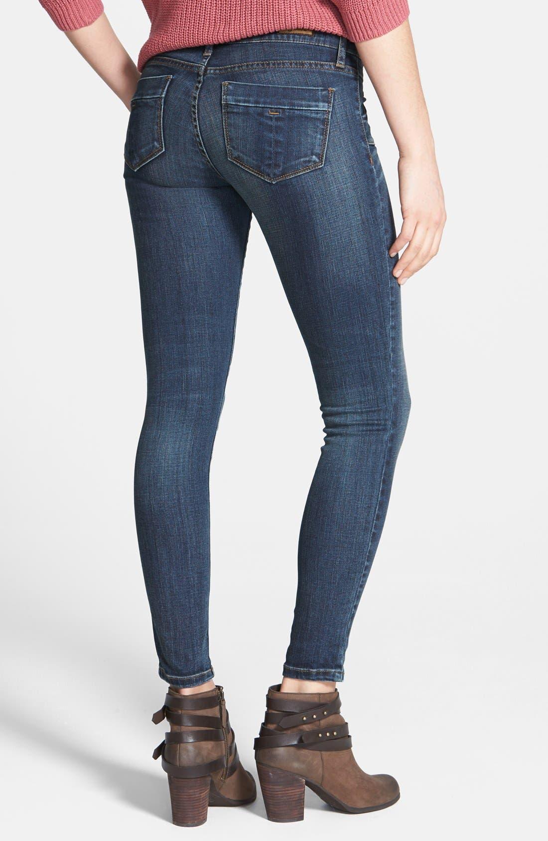 Alternate Image 4  - STS Blue Porkchop Pocket Skinny Jeans (Dark) (Juniors)