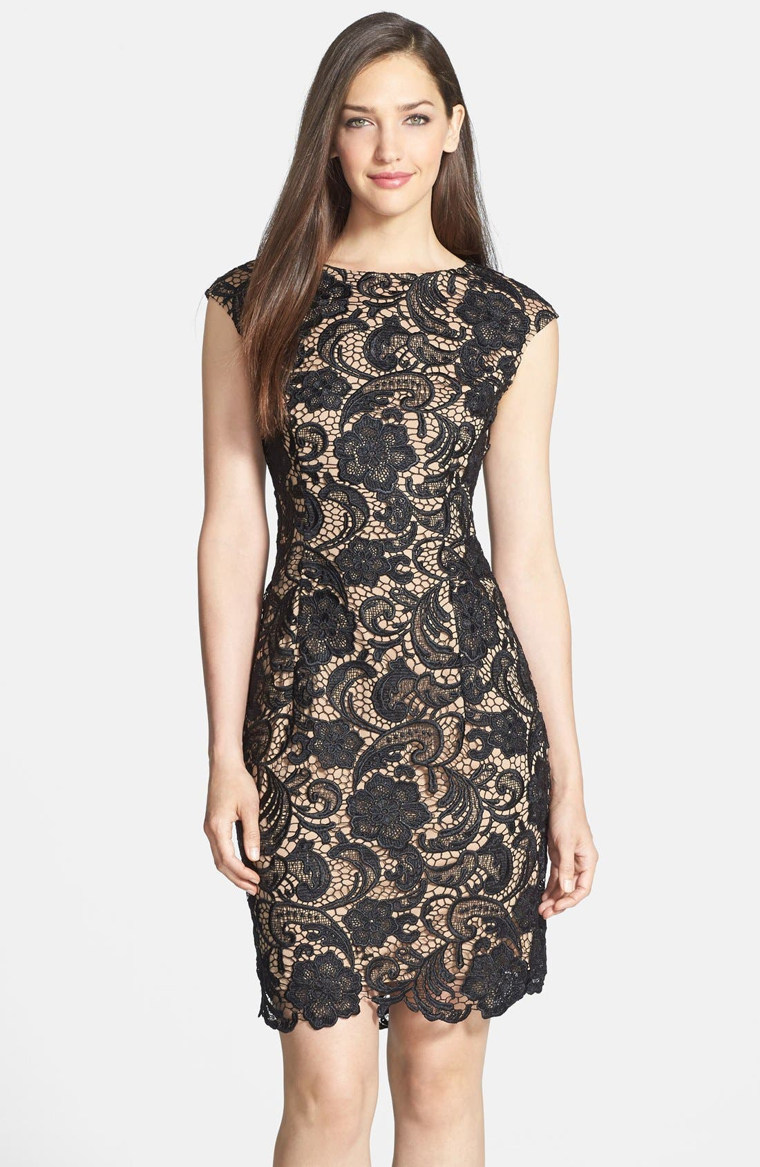 Main Image - Alex Evenings Cap Sleeve Lace Dress