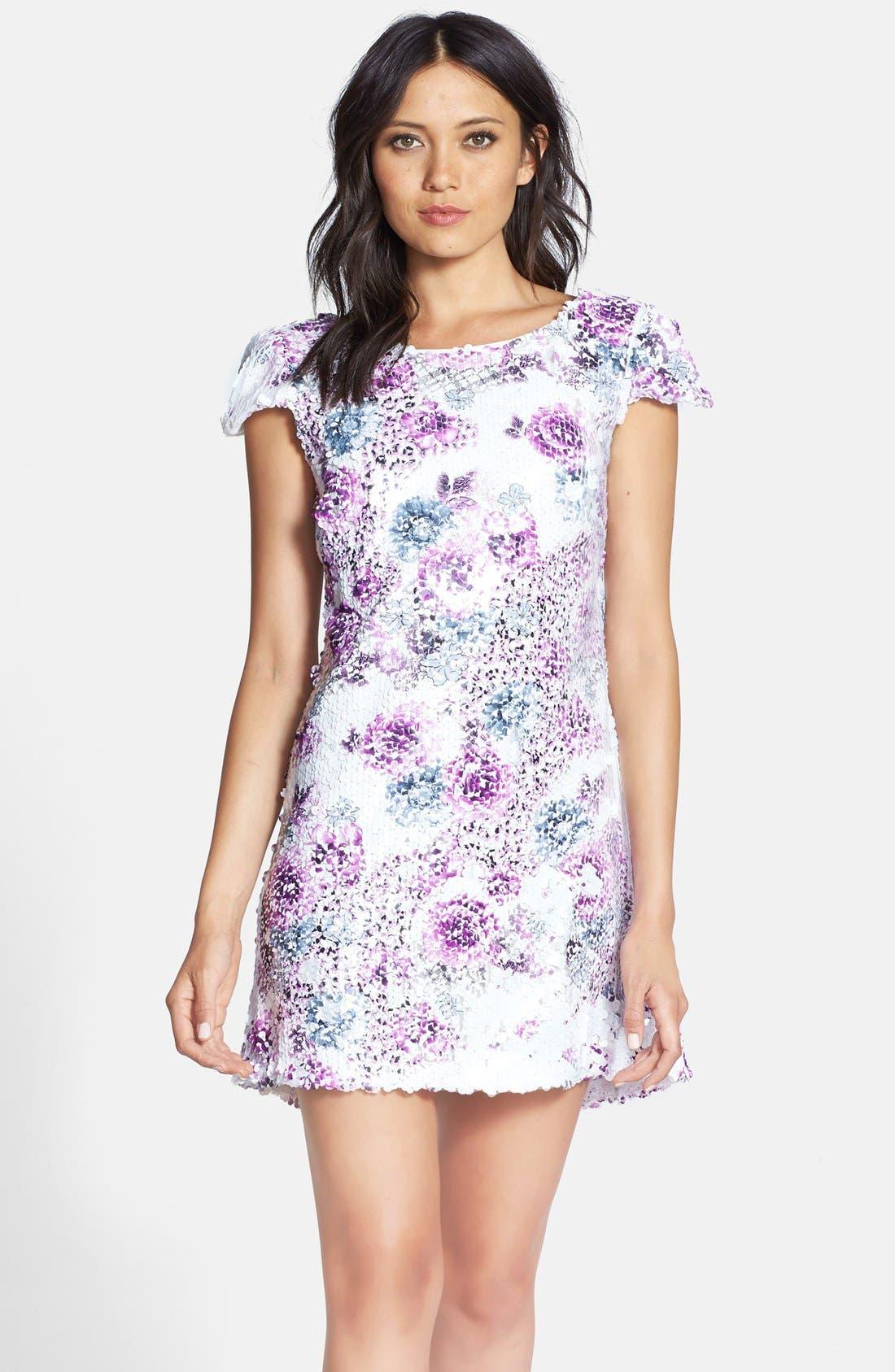 Alternate Image 1 Selected - Dress the Population 'Brooke' Paillette Embellished Dress