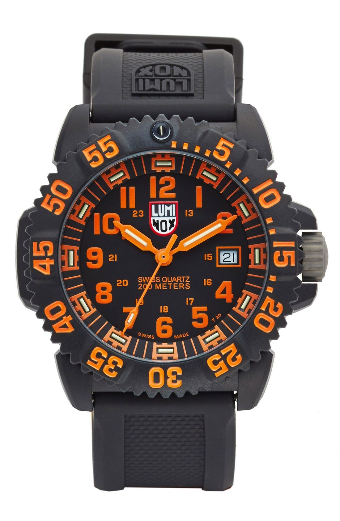 Alternate Image 1 Selected - Luminox 'Sea - Navy SEAL Colormark' Silicone Strap Watch, 43mm