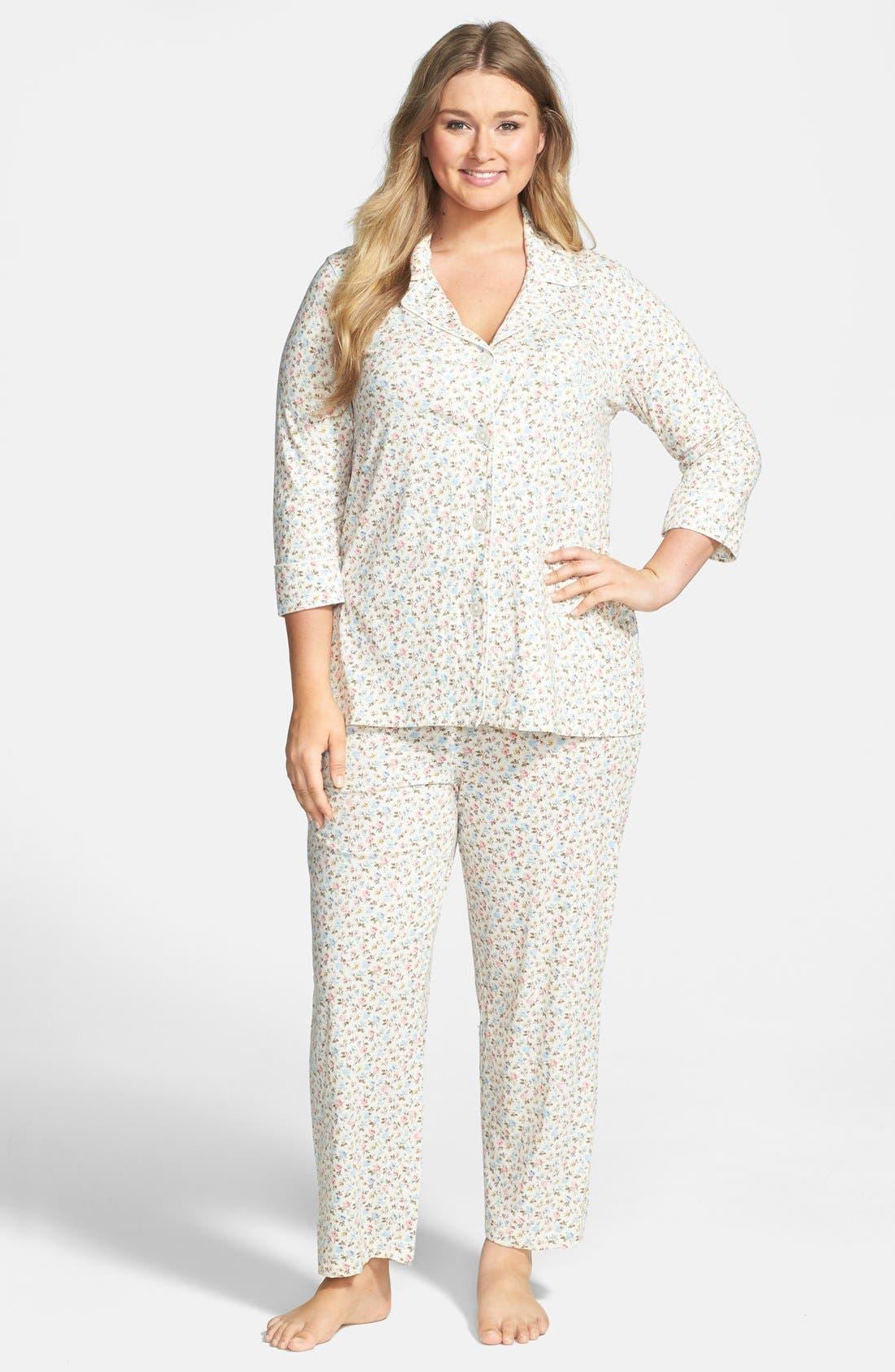 Alternate Image 1 Selected - Lauren Ralph Lauren Jersey Knit Pajamas (Plus Size)
