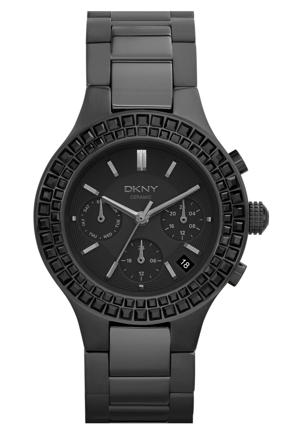 Alternate Image 1 Selected - DKNY 'Chambers' Crystal Bezel Multifunction Ceramic Bracelet Watch, 38mm