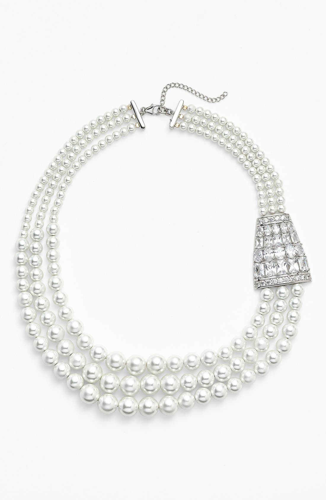 Alternate Image 1 Selected - Nina 'Zandra' Crystal Accent Faux Pearl Necklace