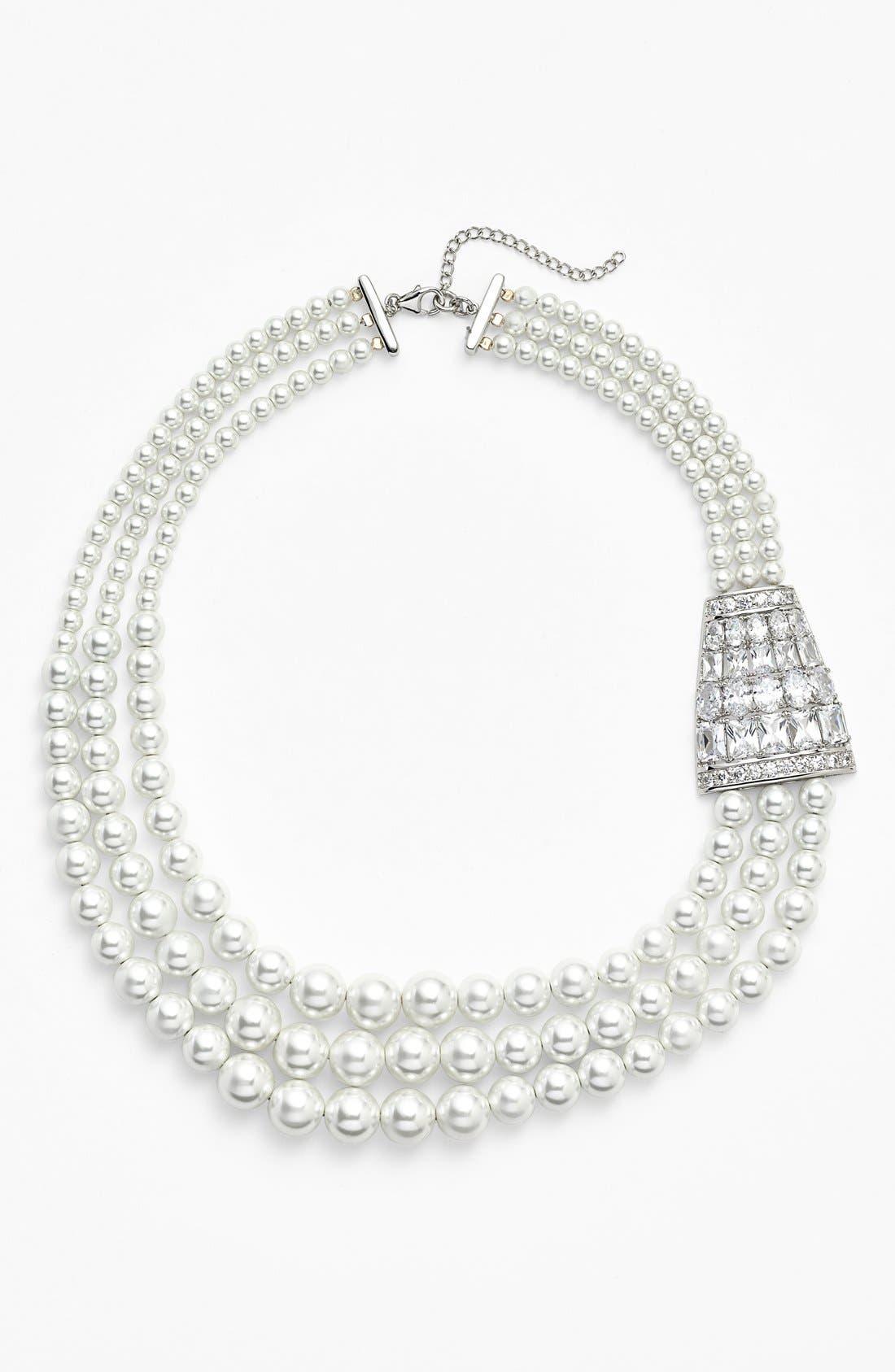 Main Image - Nina 'Zandra' Crystal Accent Faux Pearl Necklace