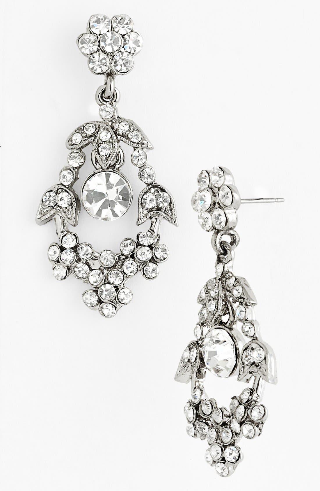 Alternate Image 1 Selected - Nina 'Haiden' Floral Crystal Drop Earrings