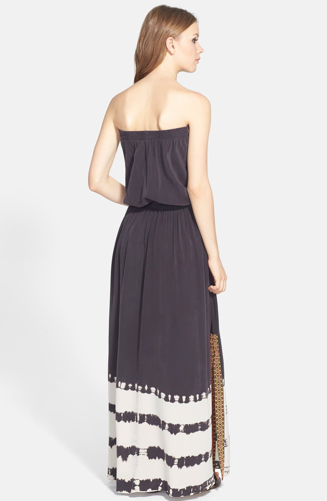 Alternate Image 2  - Gypsy 05 Embroidered Trim Silk Maxi Dress