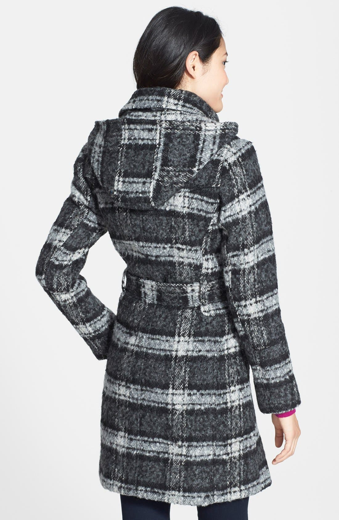 Alternate Image 3  - Vince Camuto Plaid Trench Coat with Removable Hood