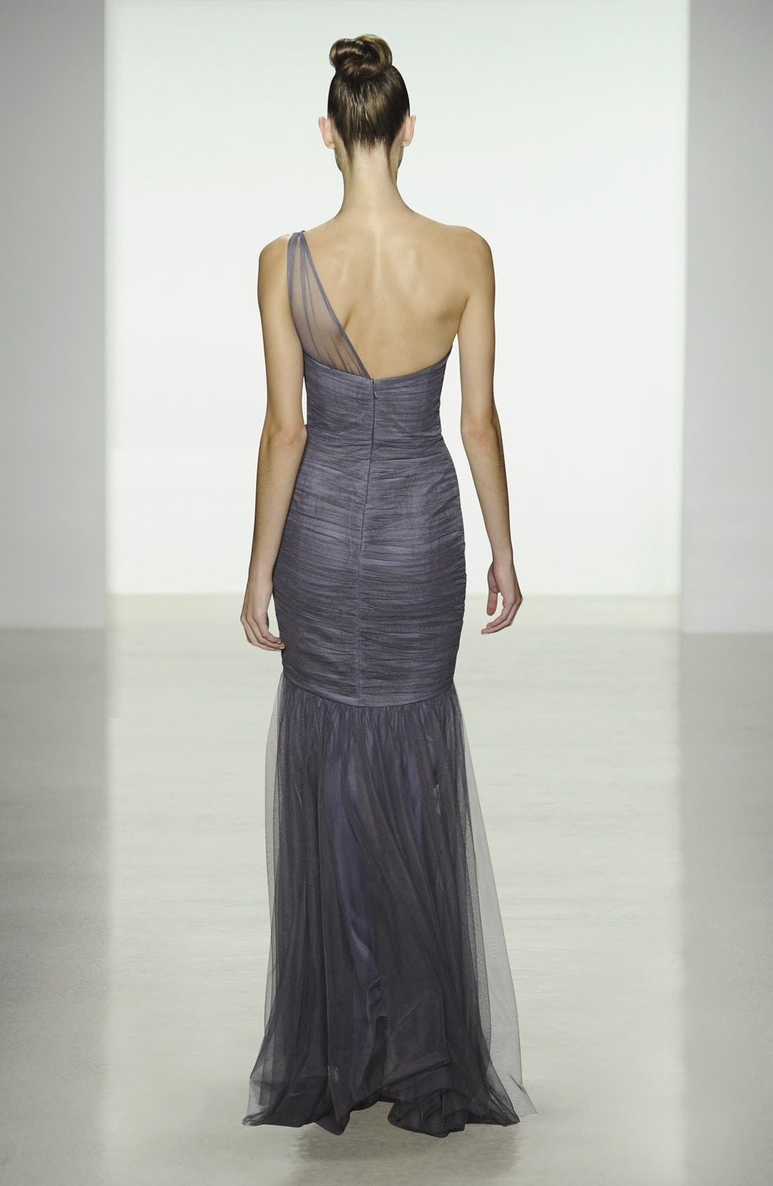 Alternate Image 5  - Amsale One-Shoulder Tulle Mermaid Gown