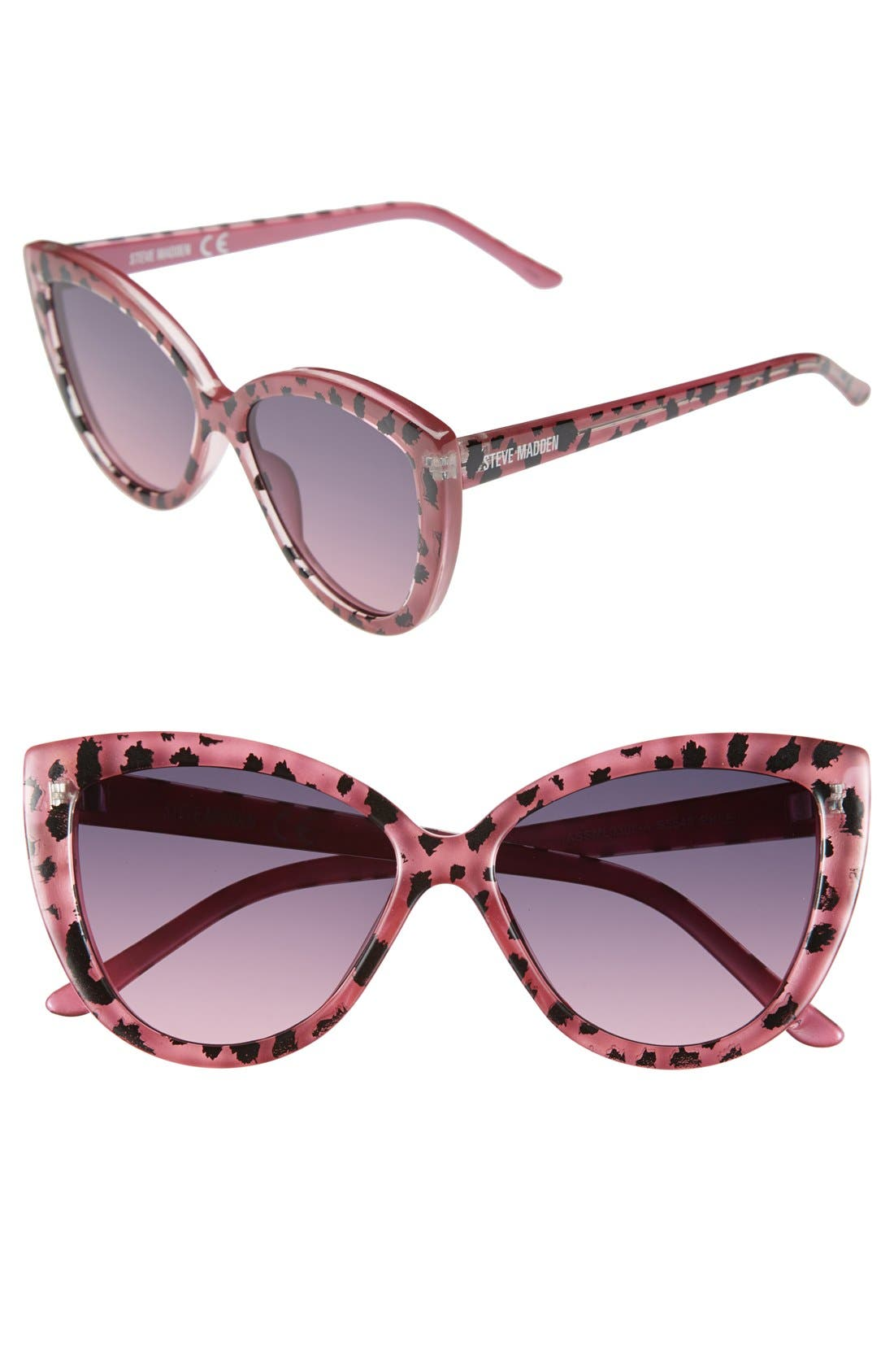 Main Image - Steve Madden 54mm Animal Print Cat Eye Sunglasses