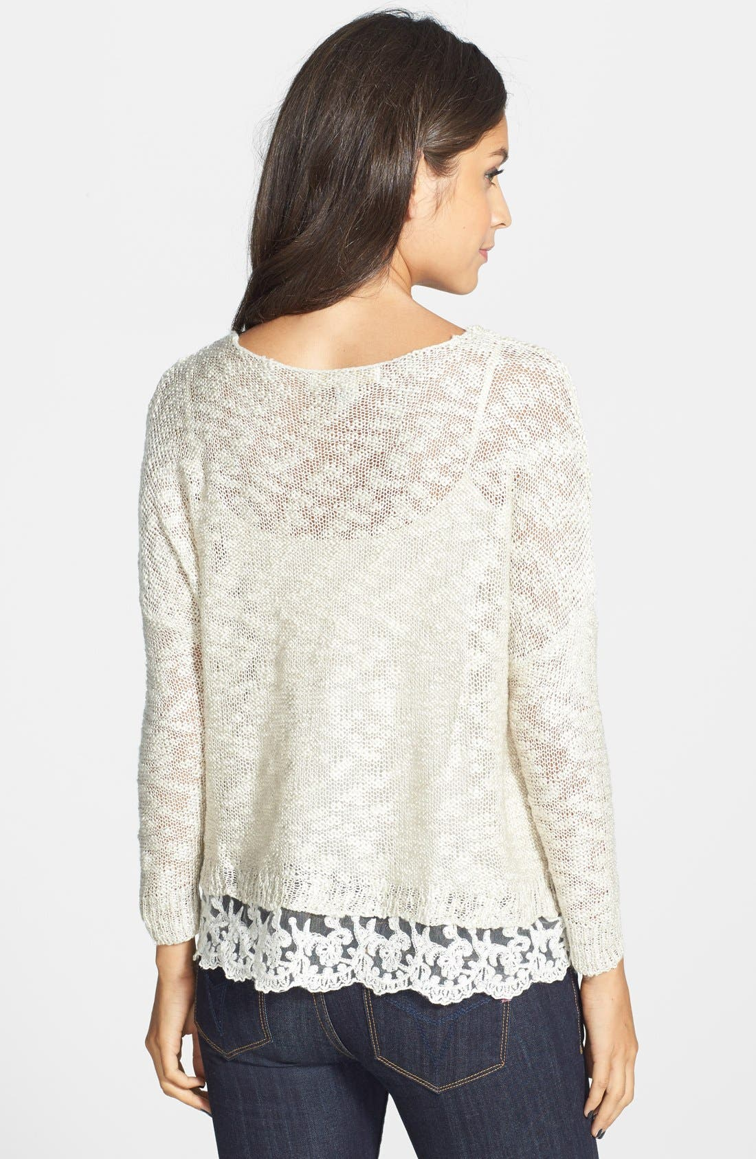 Alternate Image 3  - Love by Design Crochet Hem Sweater (Juniors)