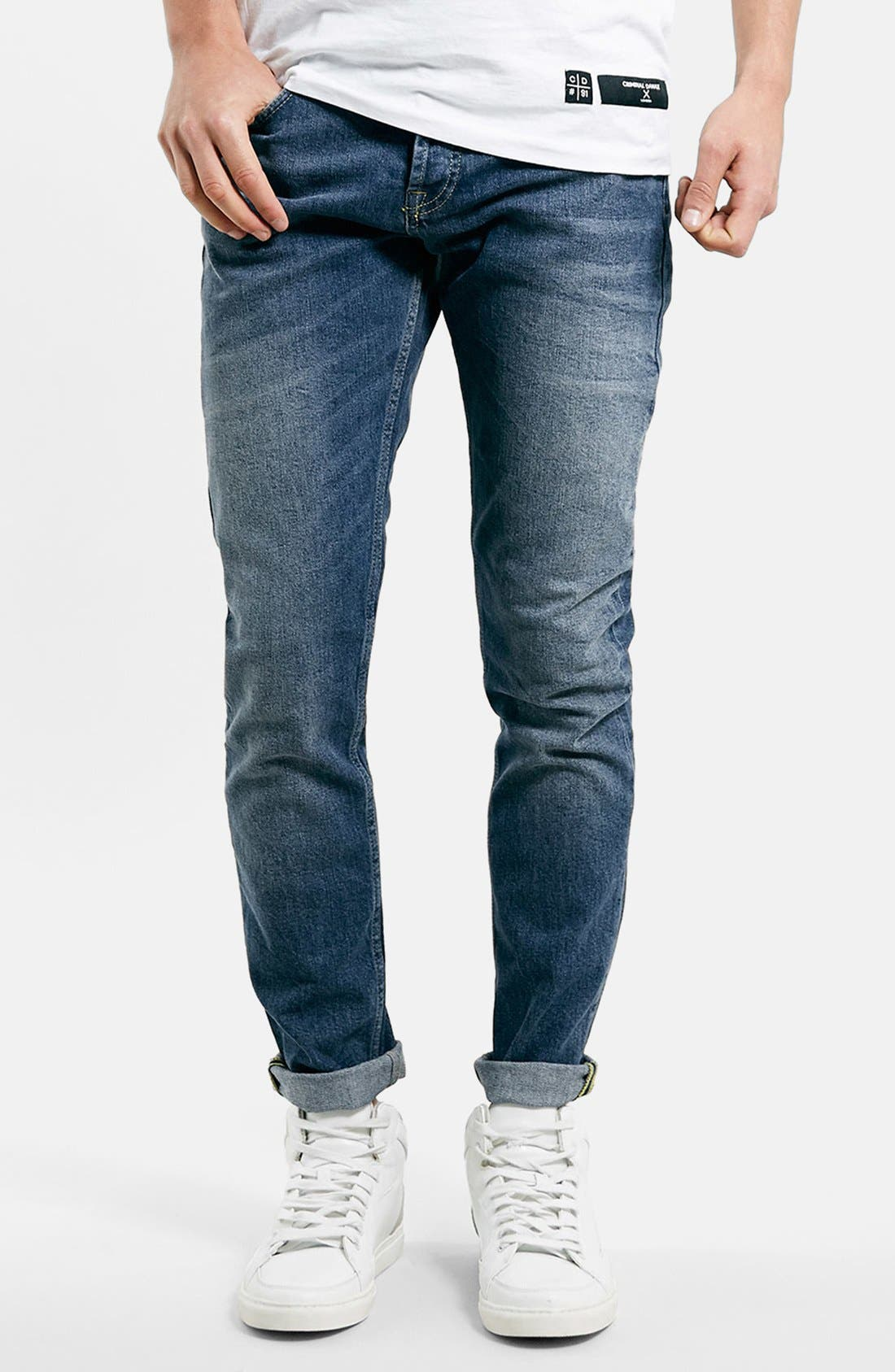 Main Image - Topman Stretch Slim Fit Jeans (Dark Blue)