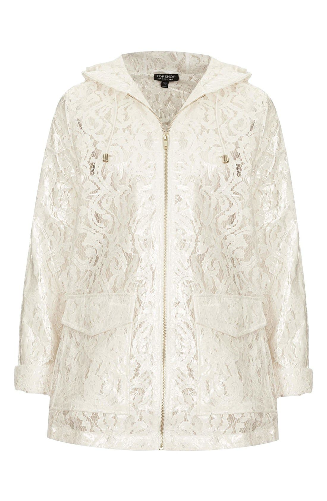 Alternate Image 3  - Topshop Cream Lace Mackintosh Coat
