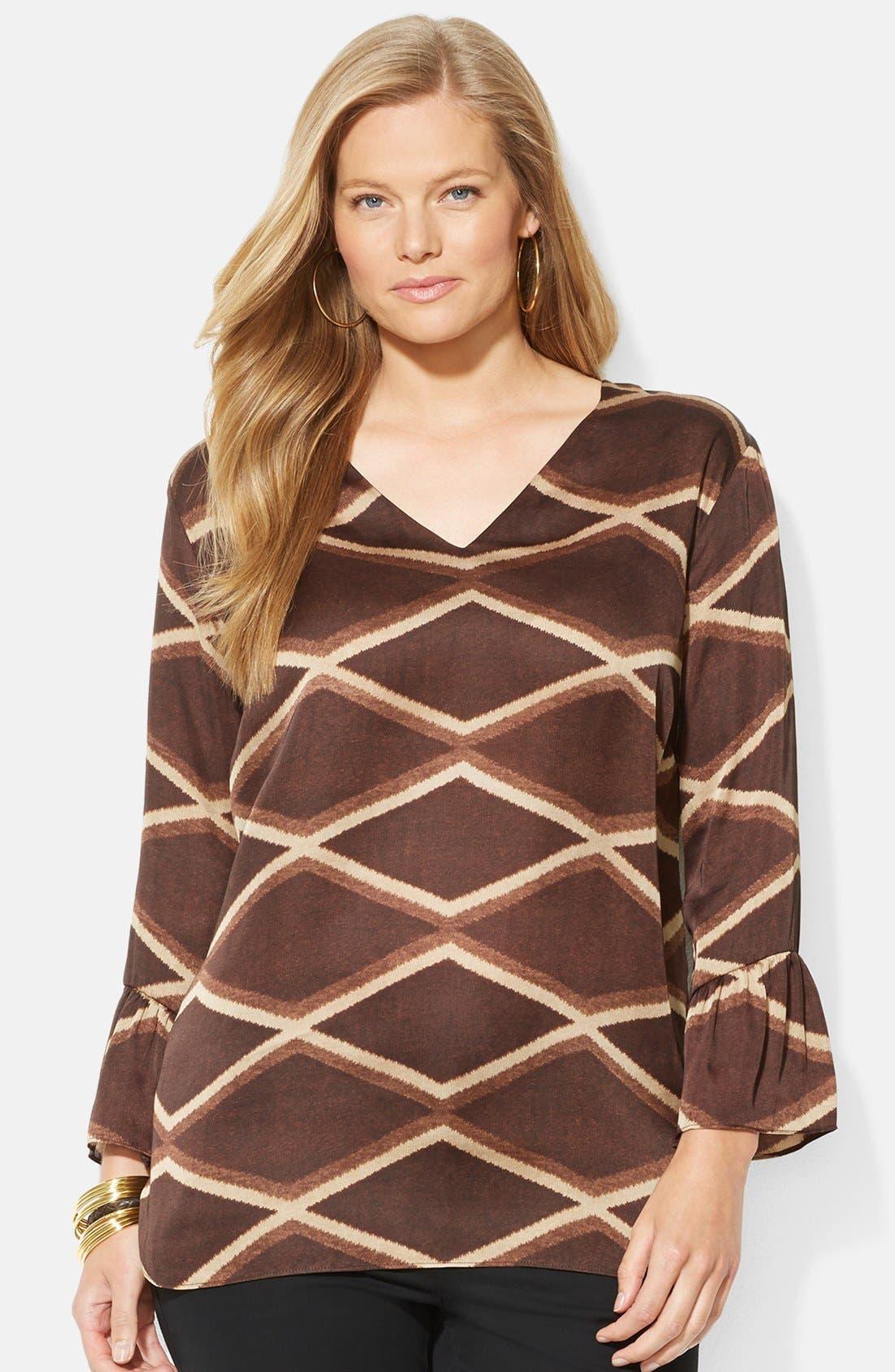 Alternate Image 1 Selected - Lauren Ralph Lauren Geo Print V-Neck Top (Plus Size)