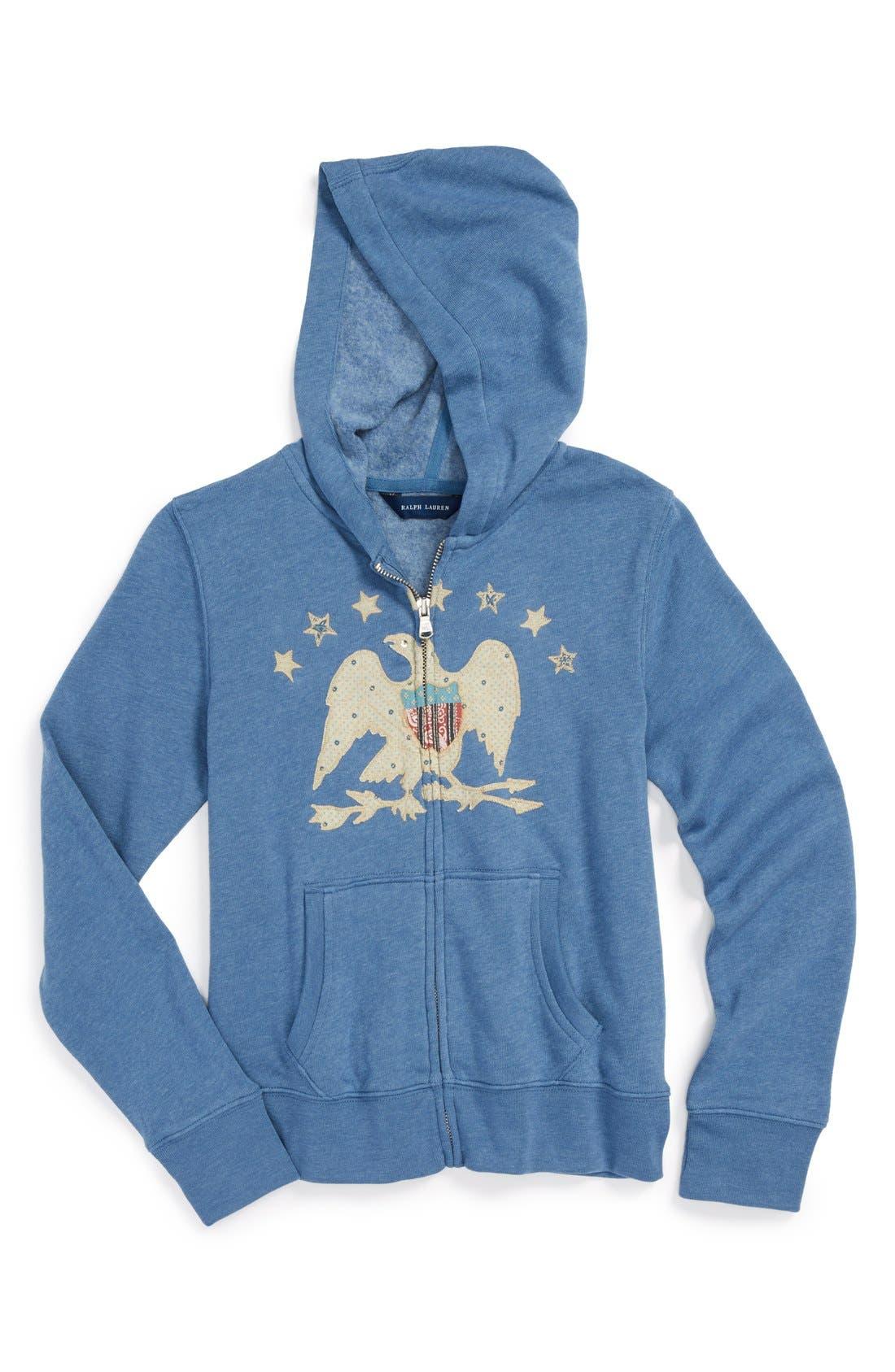 Alternate Image 1 Selected - Ralph Lauren Zip Up Fleece Hoodie (Big Girls)