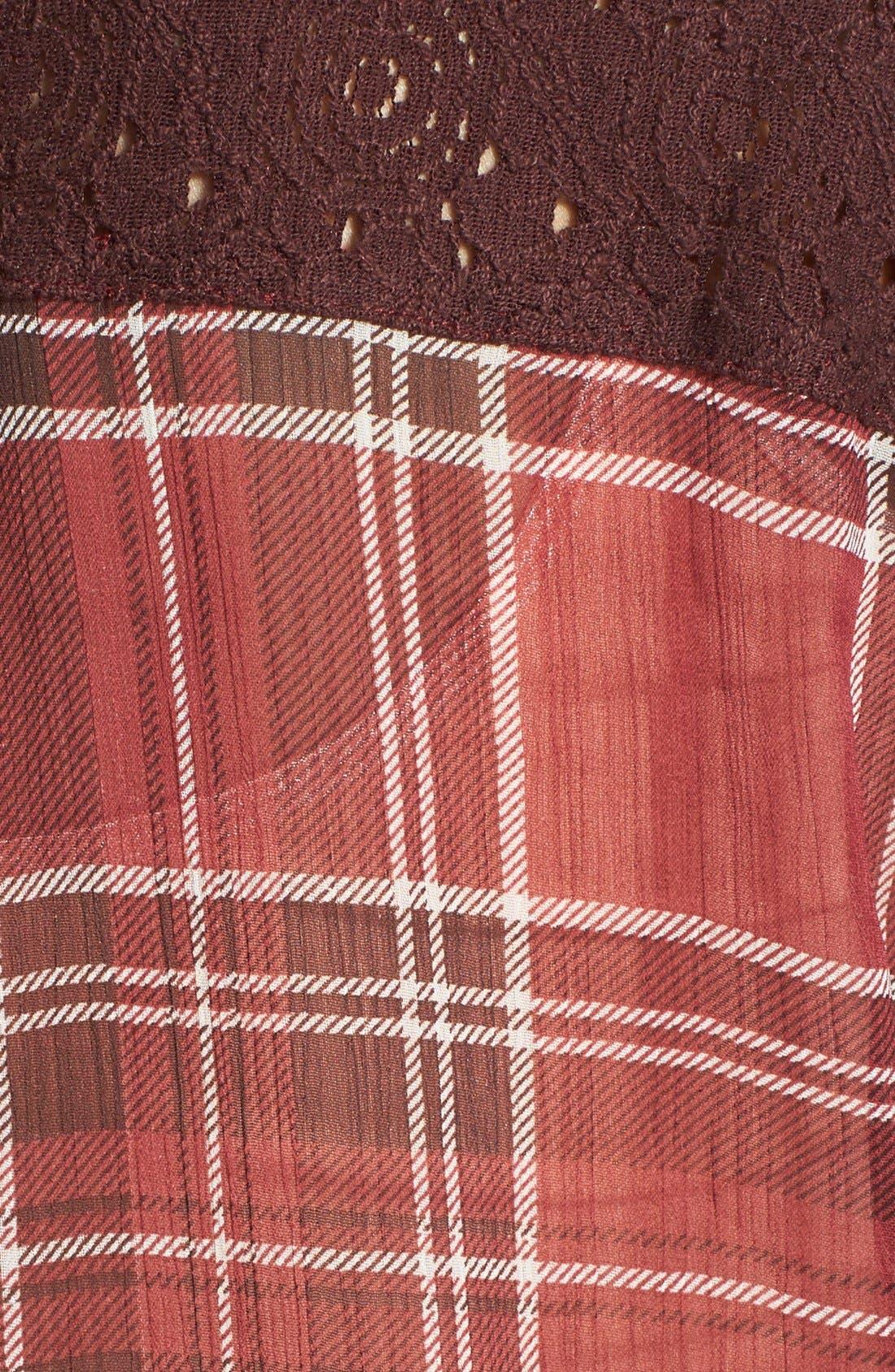 Alternate Image 3  - Band of Gypsies Plaid Crochet Back Yoke Chiffon Shirt (Juniors)