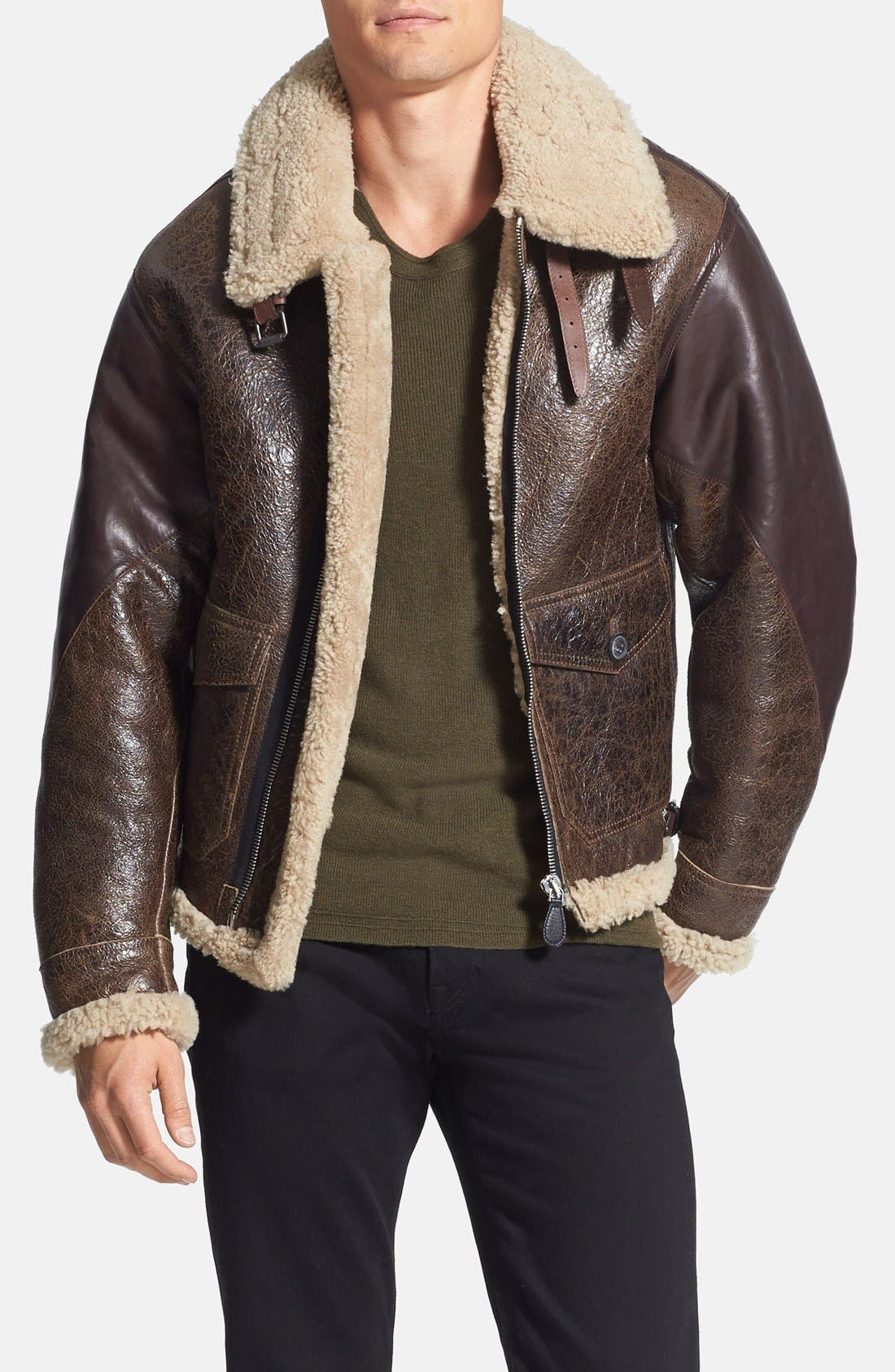 Main Image - Burberry Brit 'Ormsby' Distressed Leather Jacket with Lamb Shearling Trim
