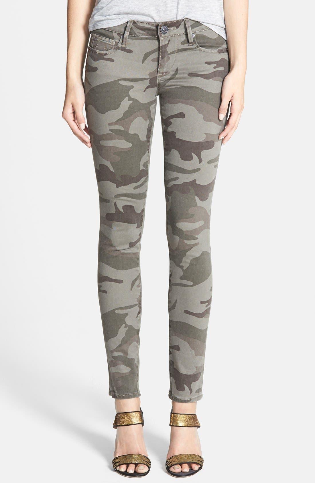 Alternate Image 1 Selected - True Religion Brand Jeans Casey Print Super Skinny Jeans (Olive Camo)