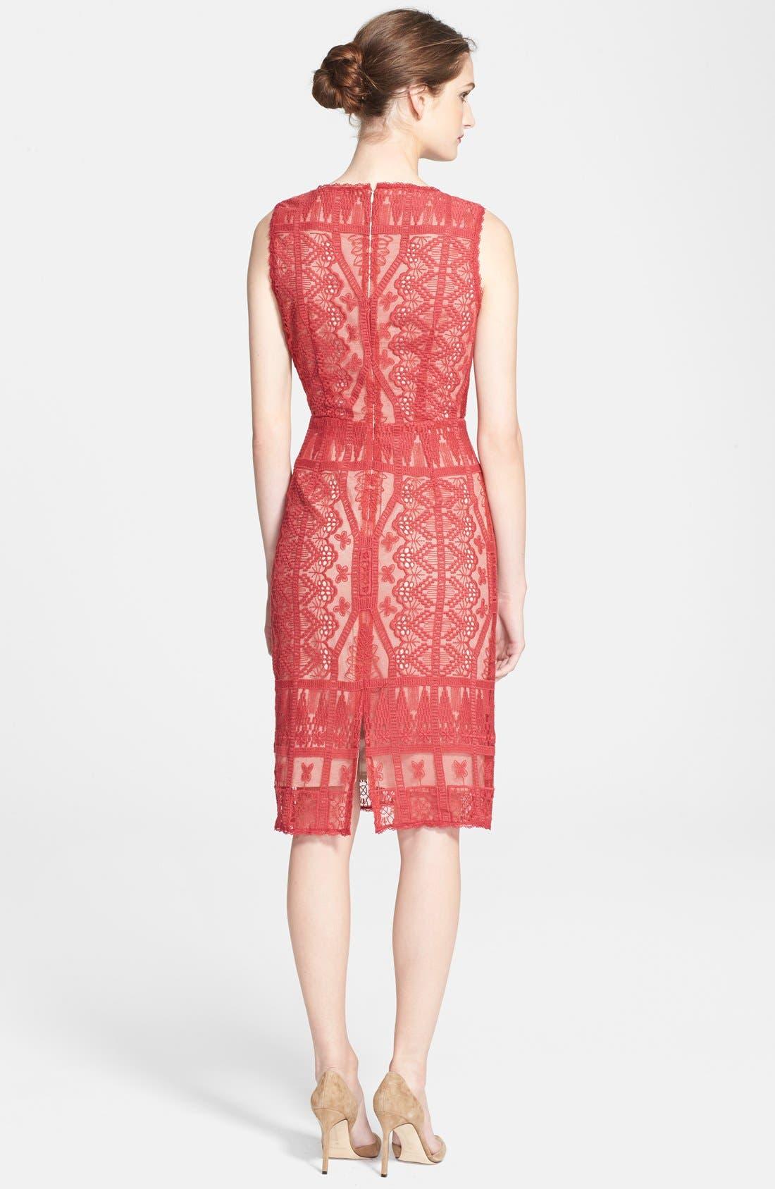 Alternate Image 2  - Korovilas 'Estella' Embroidered Lace Sheath Dress