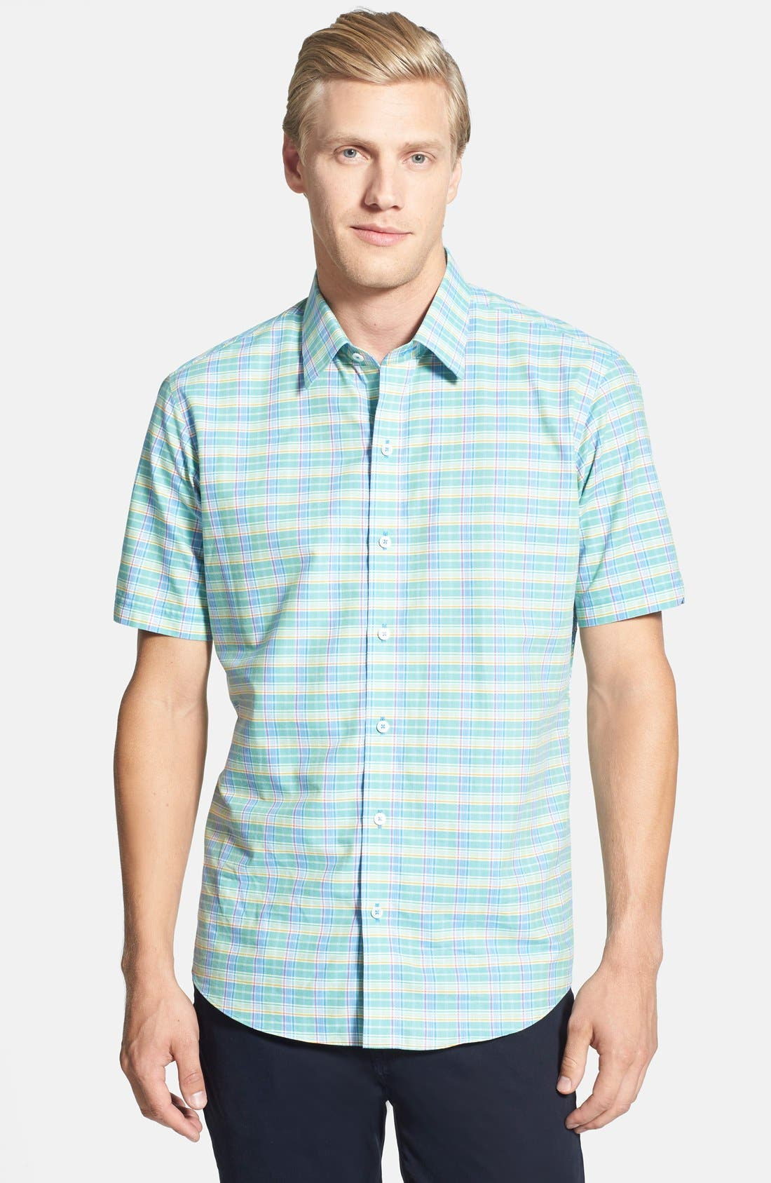 Alternate Image 1 Selected - Zachary Prell 'Escobosa' Standard Fit Short Sleeve Plaid Sport Shirt
