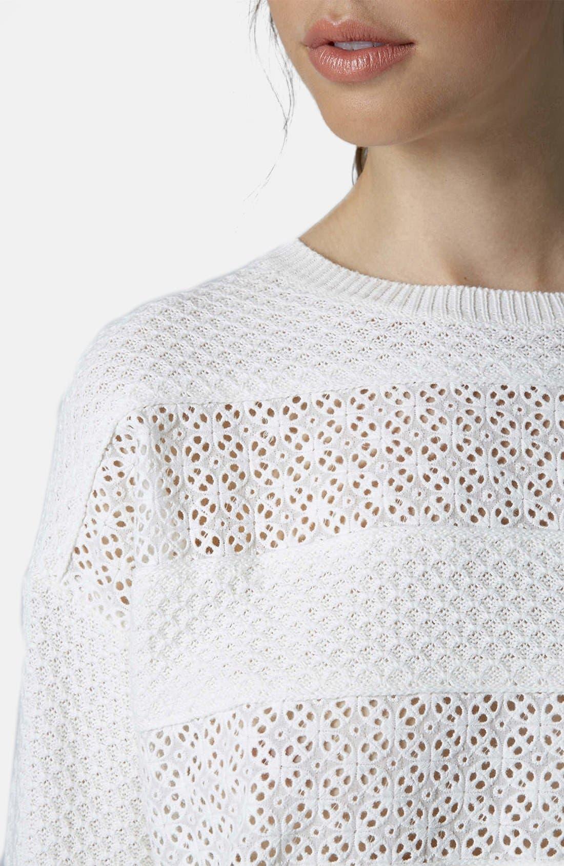 Alternate Image 4  - Topshop Lace Stripe Sweater