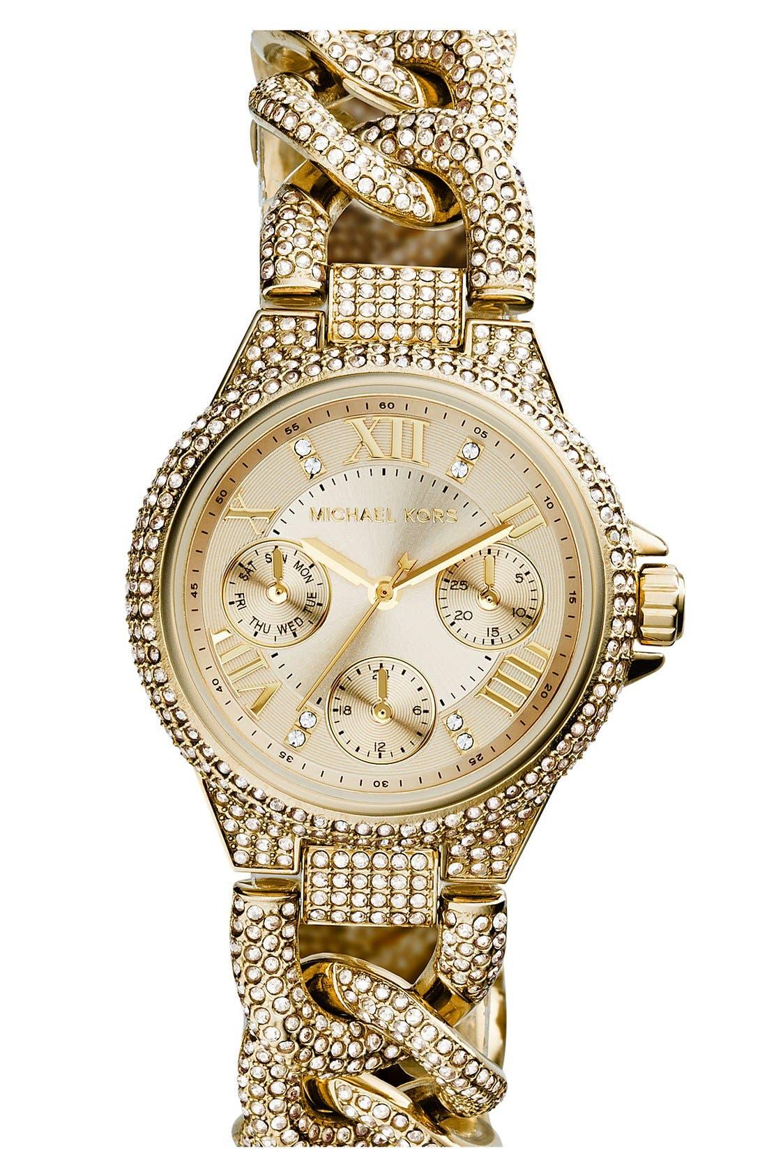 Alternate Image 1 Selected - Michael Kors 'Mini Camille' Crystal Encrusted Chain Link Bracelet Watch, 34mm