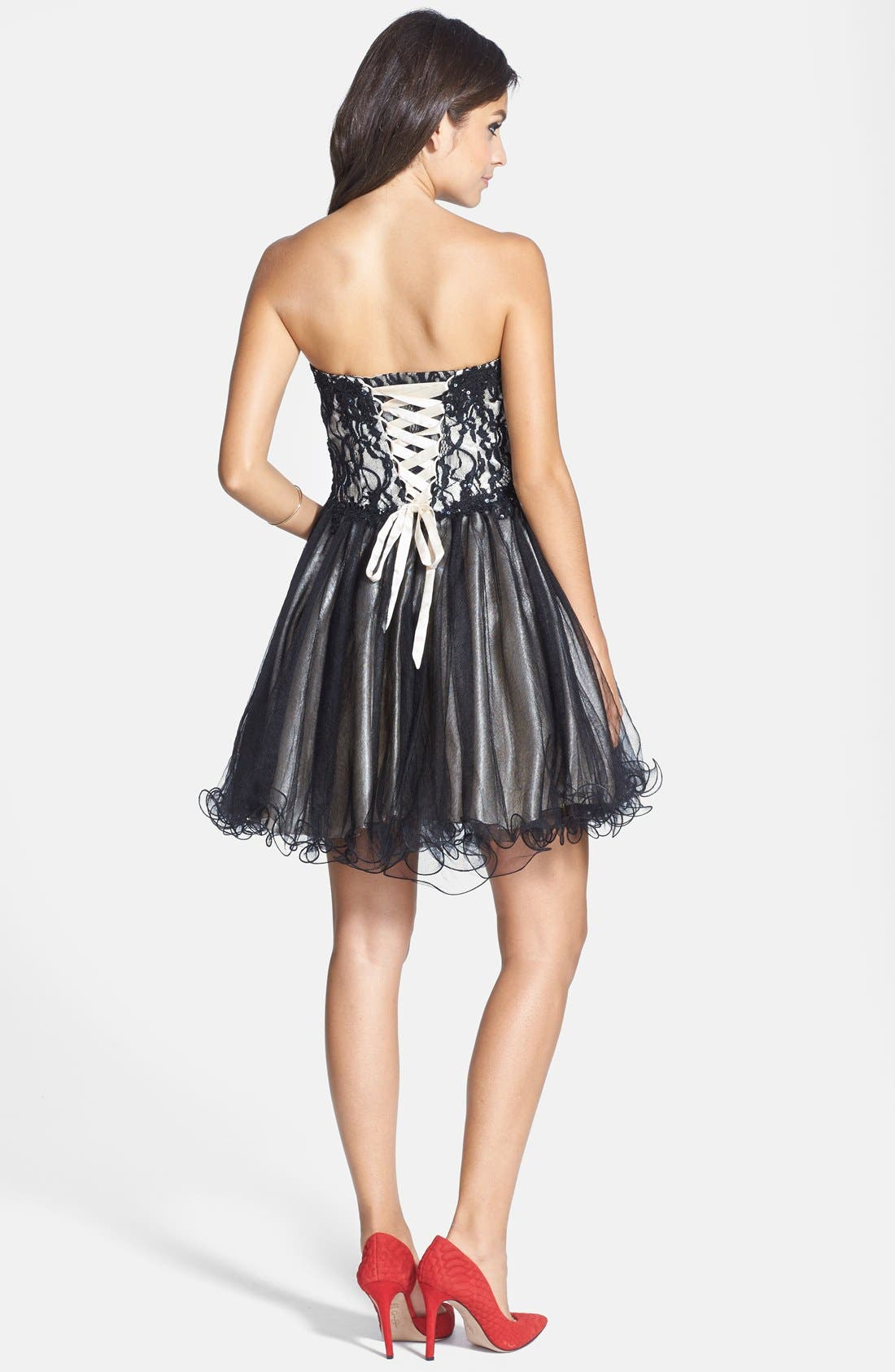 Alternate Image 2  - Sean Collection Lace Bodice Corset Fit & Flare Dress