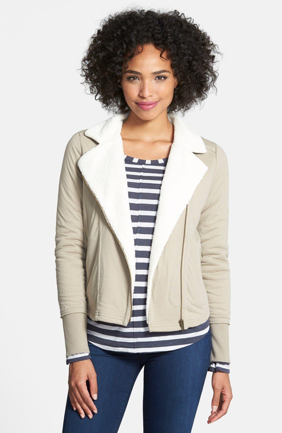 Main Image - Caslon® Faux Shearling Lined Moto Jacket (Regular & Petite)