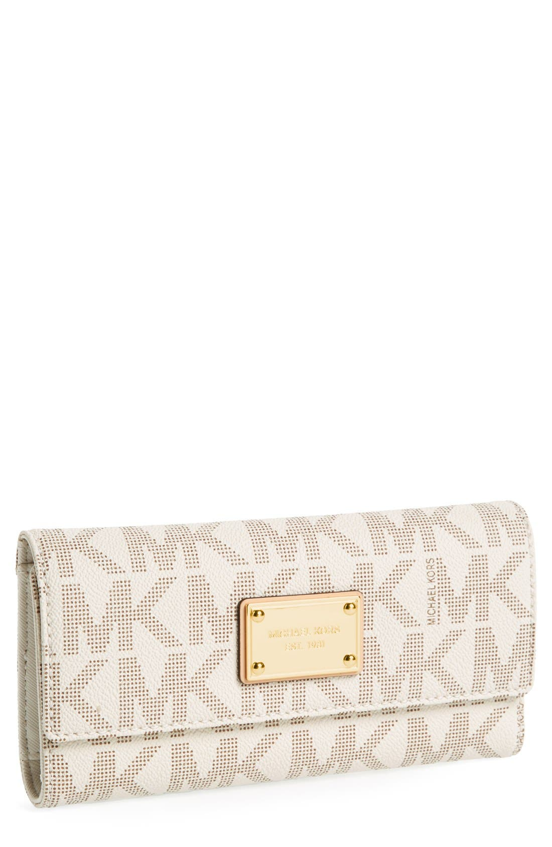 Main Image - MICHAEL Michael Kors 'Jet Set - Signature' Checkbook Wallet