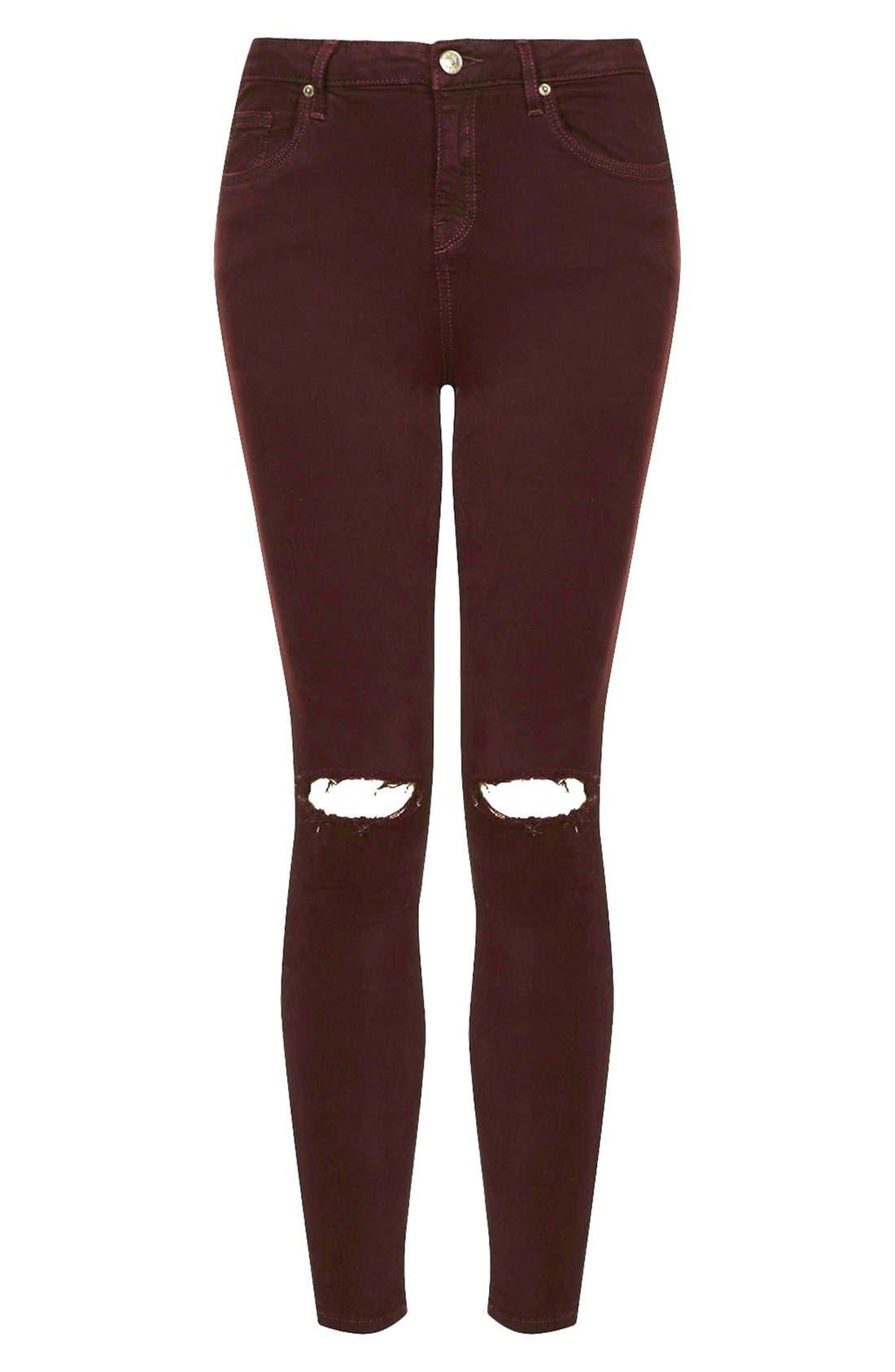 Alternate Image 3  - Topshop Moto 'Jamie' Ripped Jeans (Aubergine)