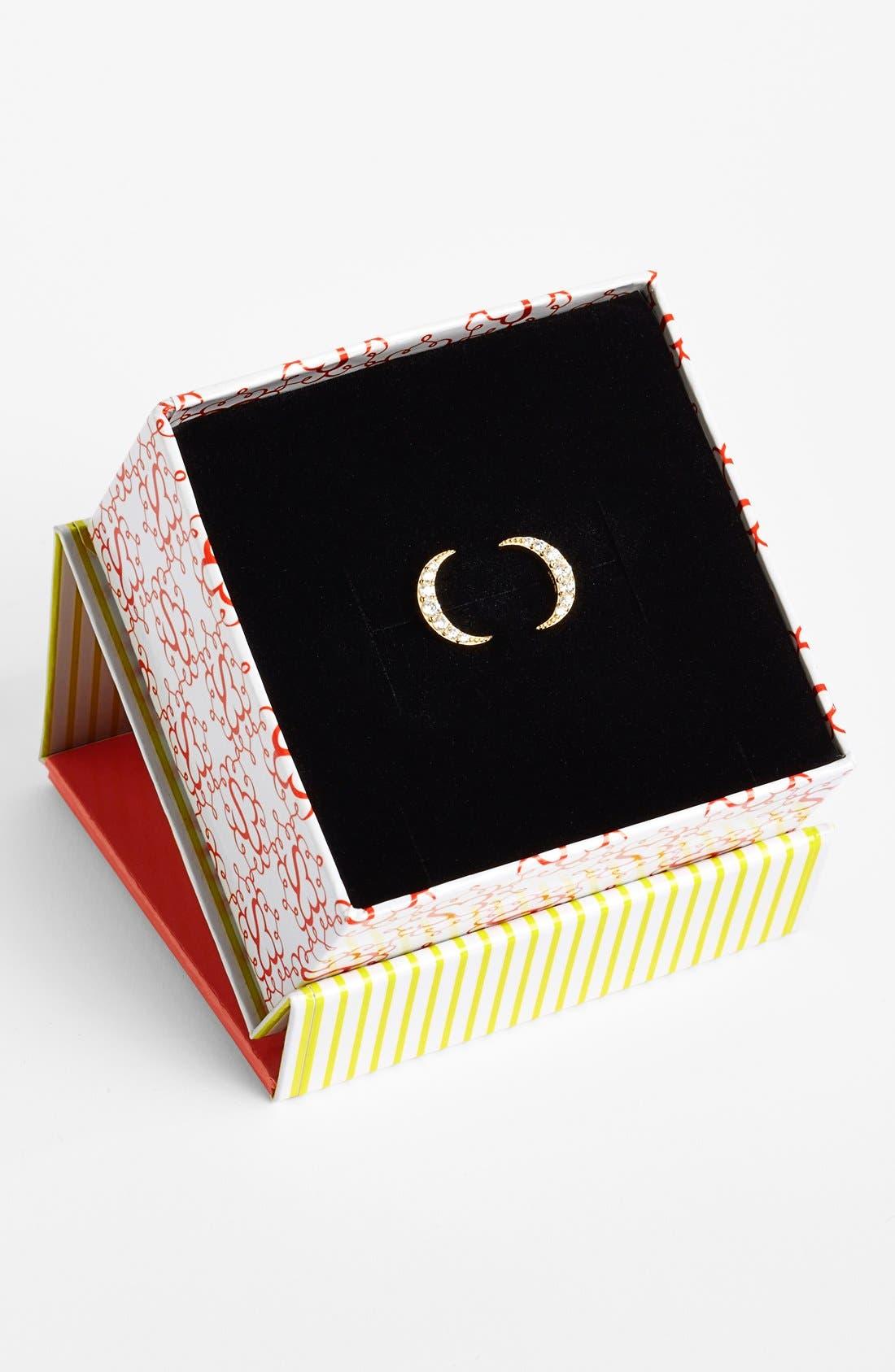 Alternate Image 2  - Sugar Bean Jewelry Pavé Crescent Stud Earrings