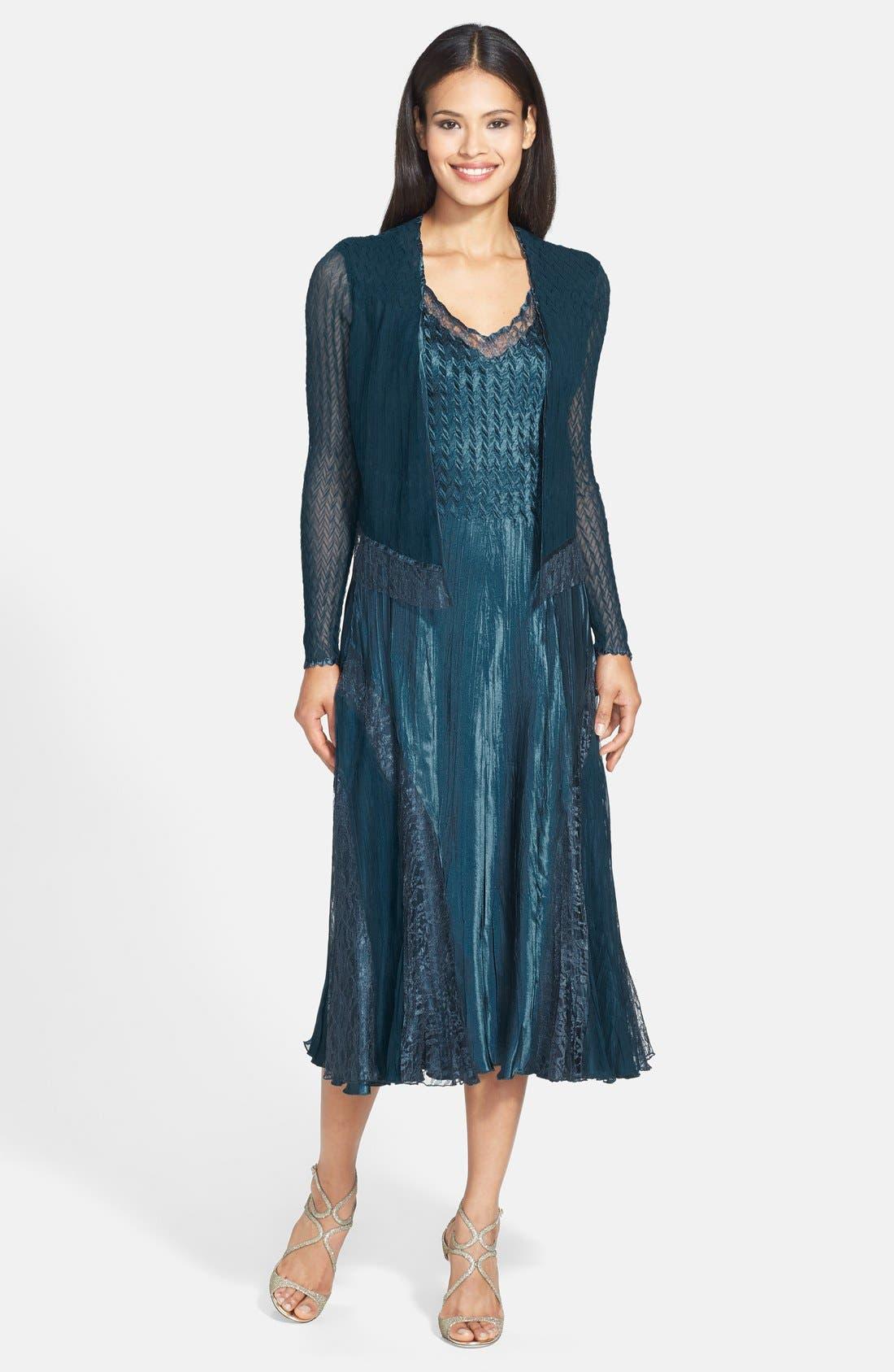 Main Image - Komarov Lace Trim Charmeuse Dress & Jacket