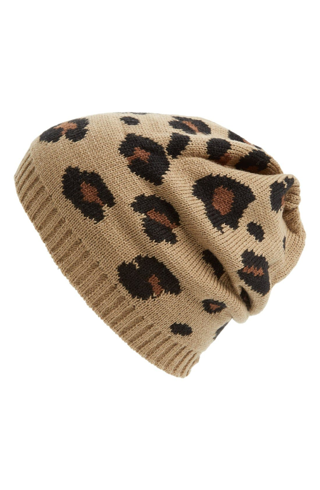 Alternate Image 1 Selected - Amici Accessories Slouchy Leopard Beanie (Juniors)