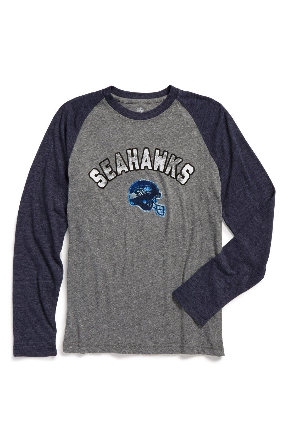 Main Image - Outerstuff 'NFL - Seattle Seahawks' Raglan Sleeve Graphic T-Shirt (Big Boys)