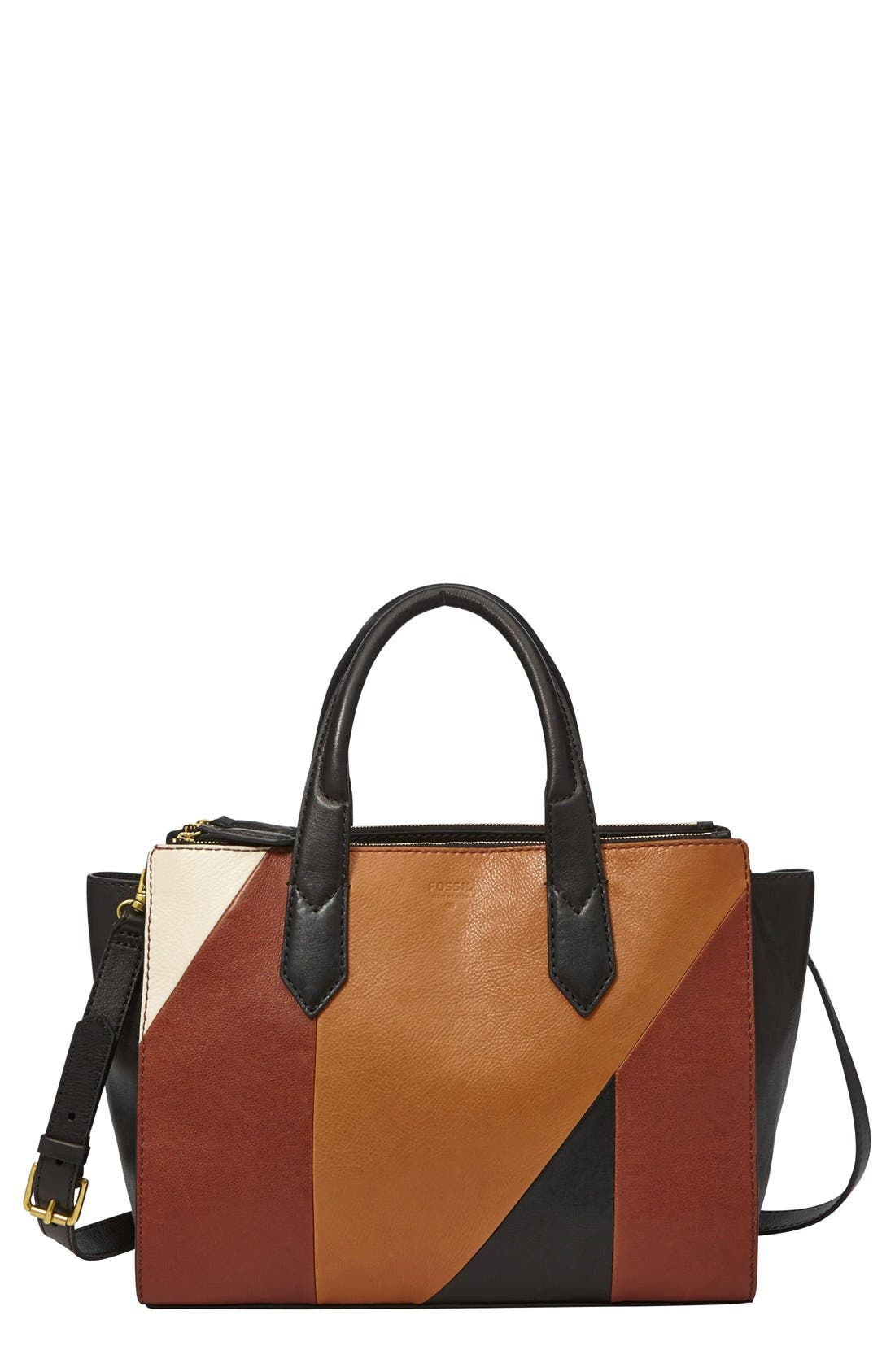 Main Image - Fossil 'Knox' Patchwork Leather Shopper