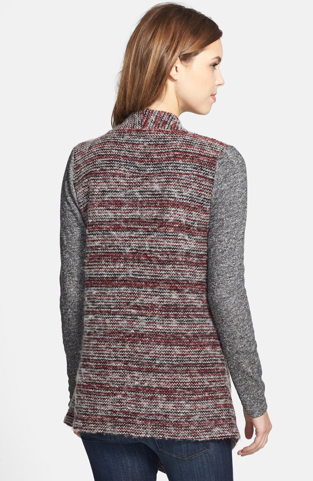 Alternate Image 2  - Lucky Brand Mixed Knit Drape Front Cardigan