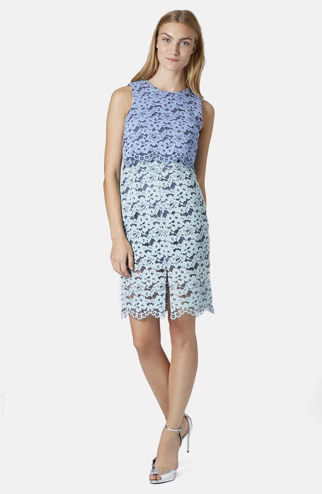 Alternate Image 4  - Topshop Two Tone Lace Midi Dress