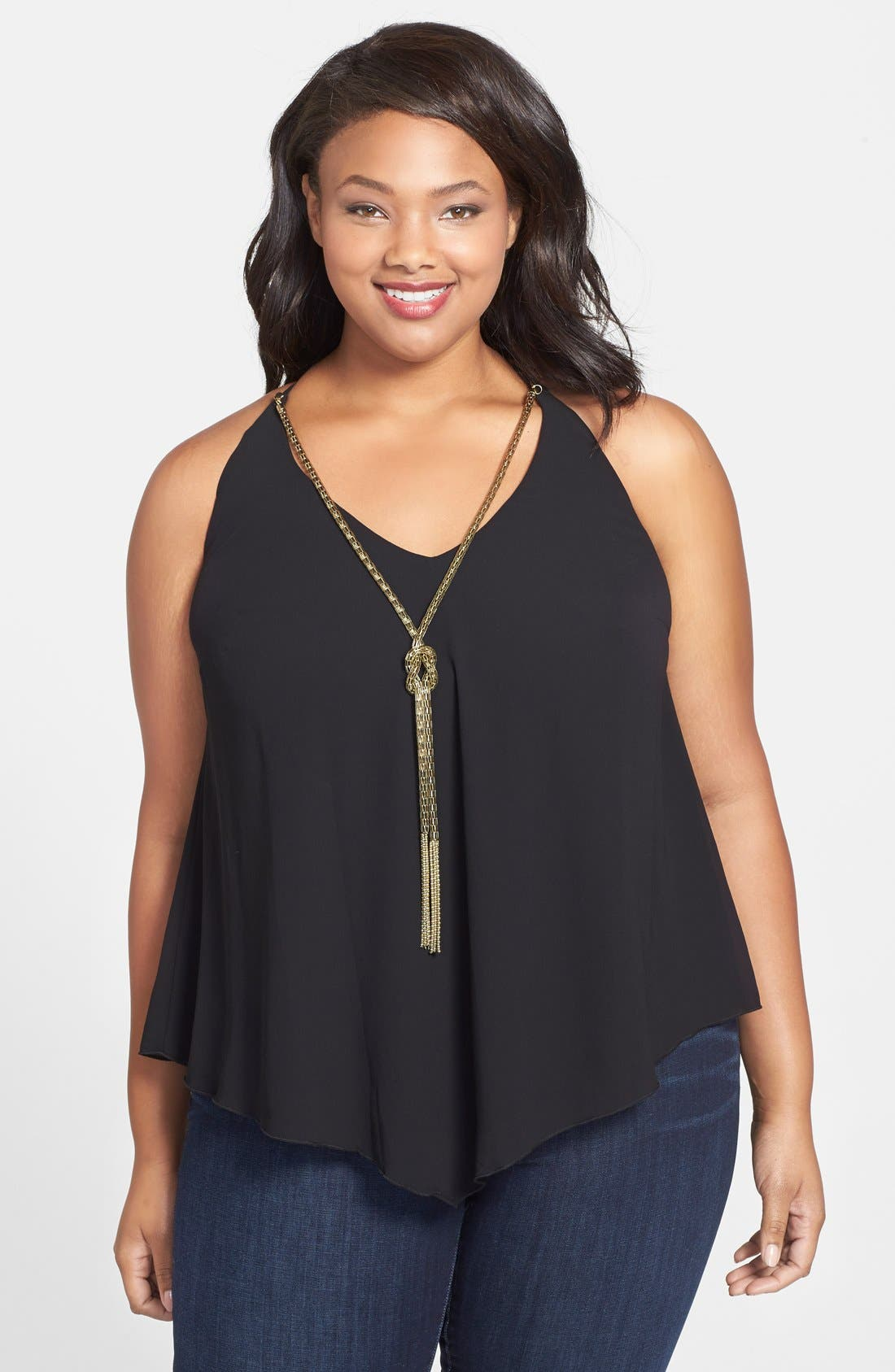 Alternate Image 1 Selected - City Chic Knot Chain Shirt (Plus Size)